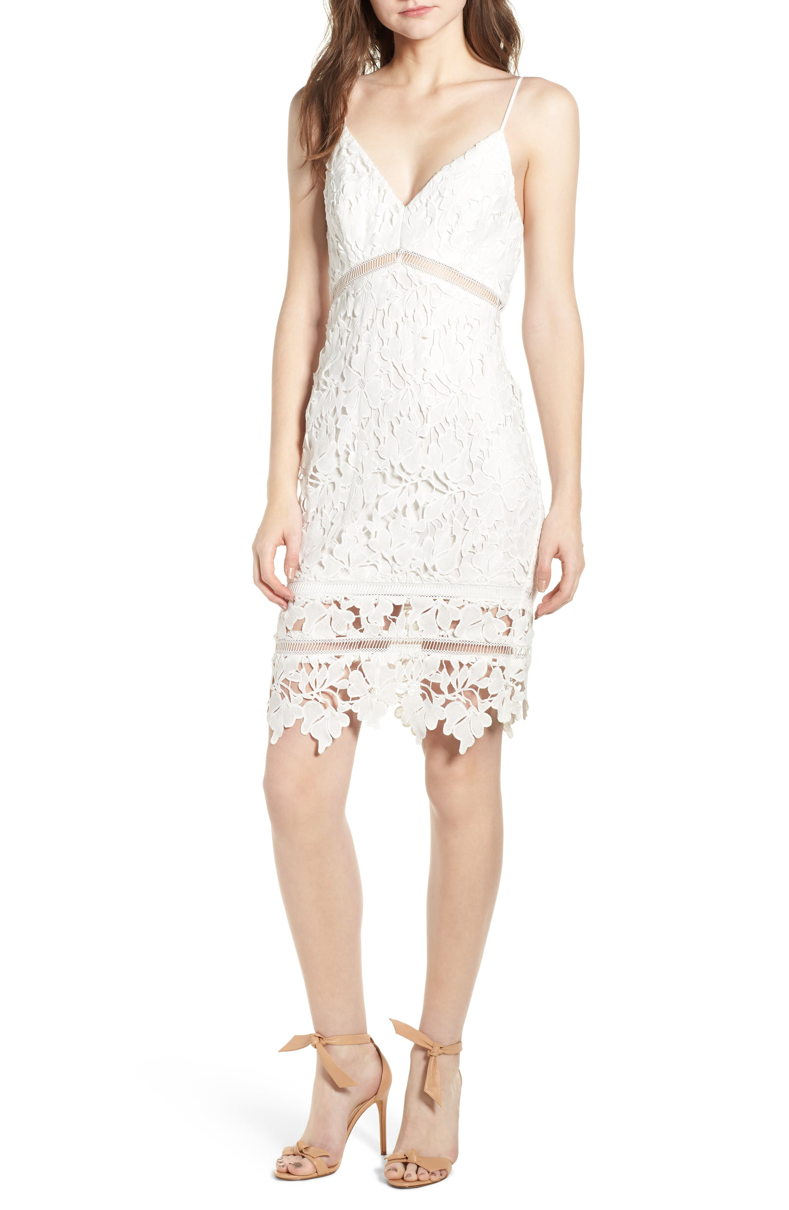 ASTR THE LABEL, ASTR Lace Bodycon Dress, Main thumbnail 1, color, WHITE