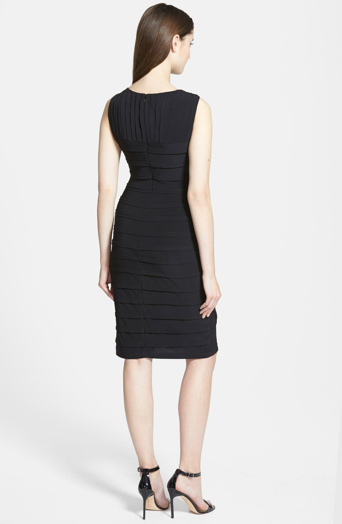 ADRIANNA PAPELL, V-Neck Shutter Pleat Sheath Dress, Alternate thumbnail 3, color, 001