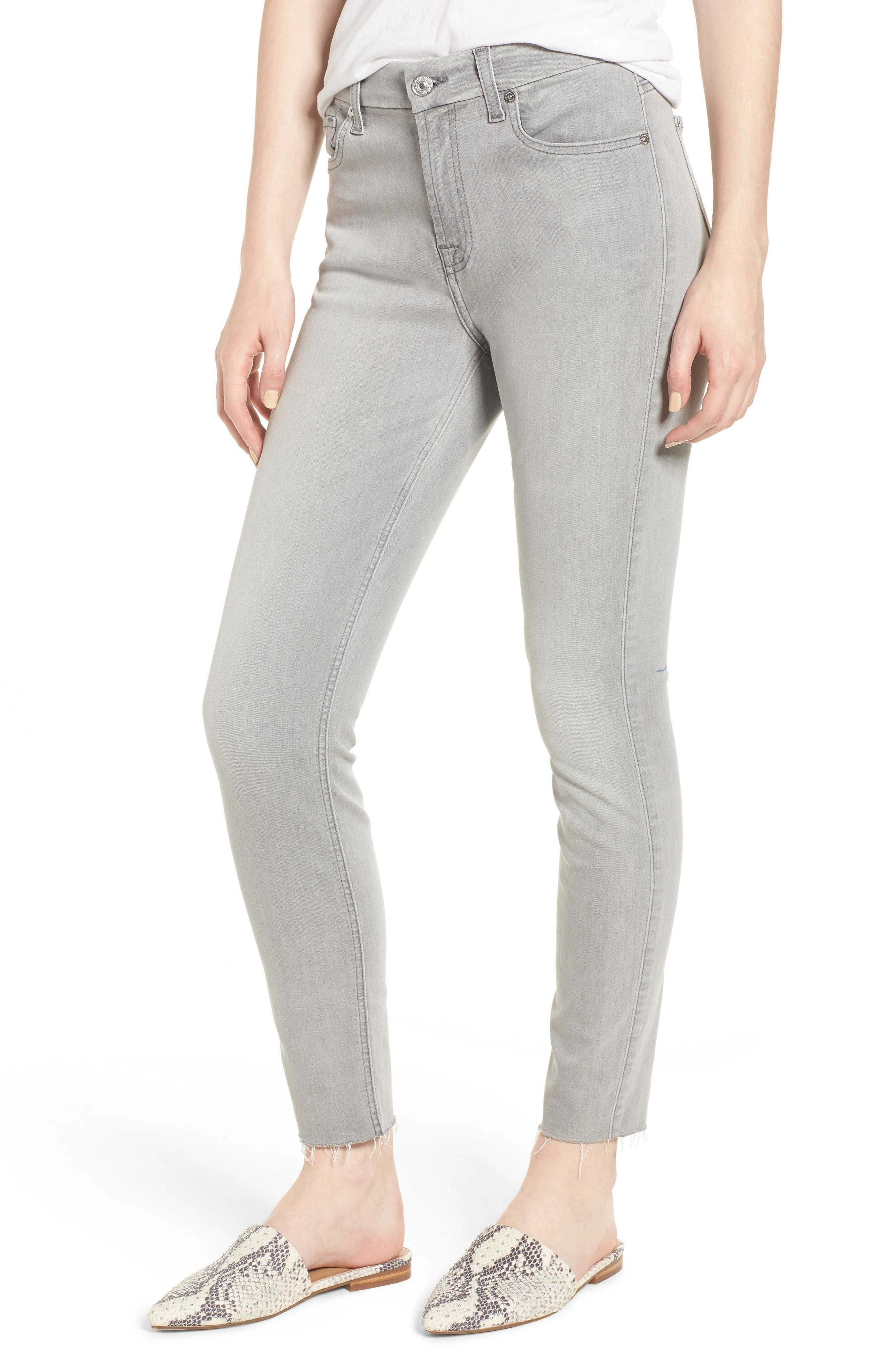 7 FOR ALL MANKIND<SUP>®</SUP> b(air) High Waist Raw Hem Ankle Skinny Jeans, Main, color, BAIR PURE SOFT GREY