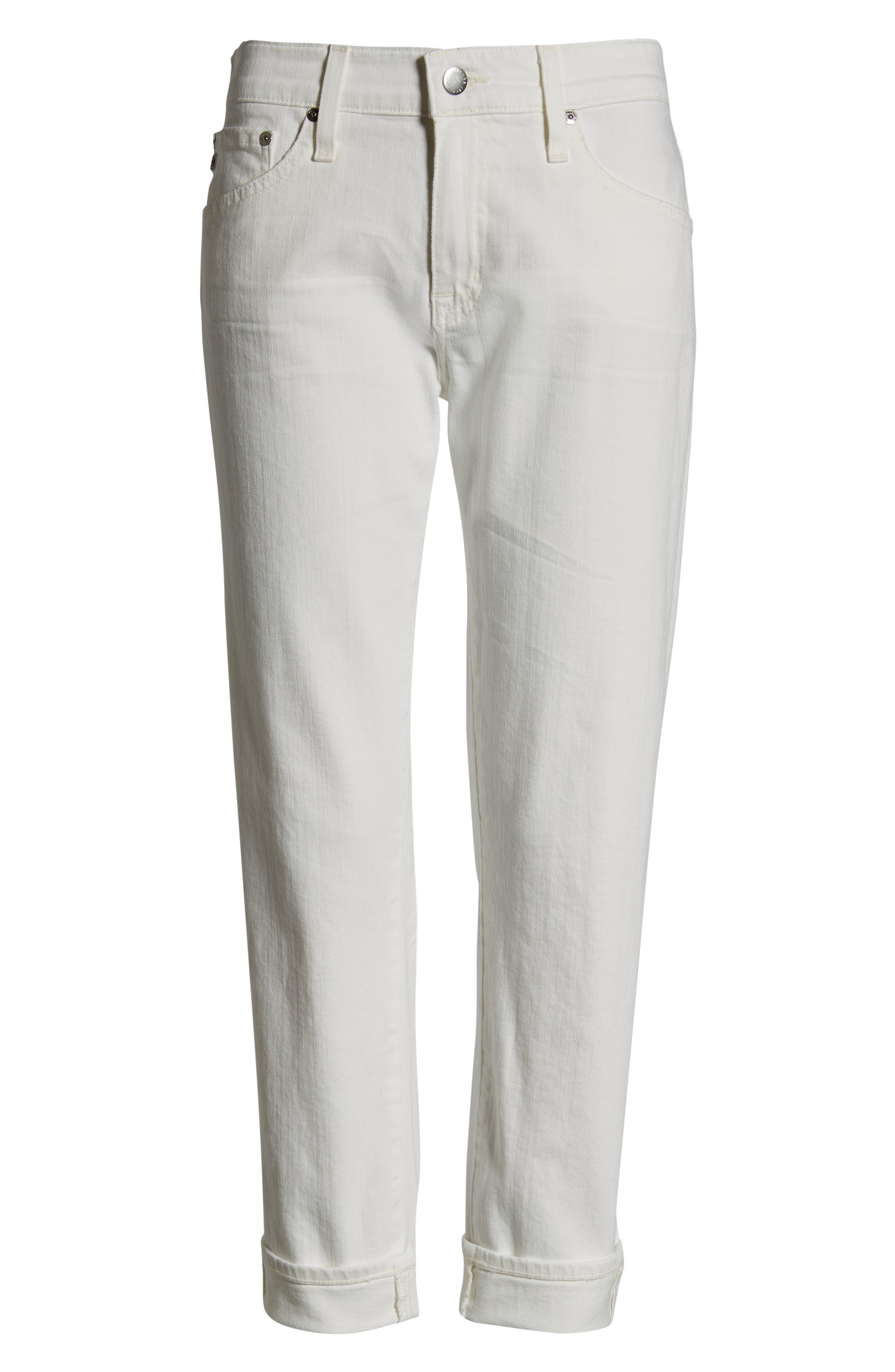 AG, The Ex-Boyfriend Crop Slim Jeans, Alternate thumbnail 7, color, 01Y TONAL WHITE