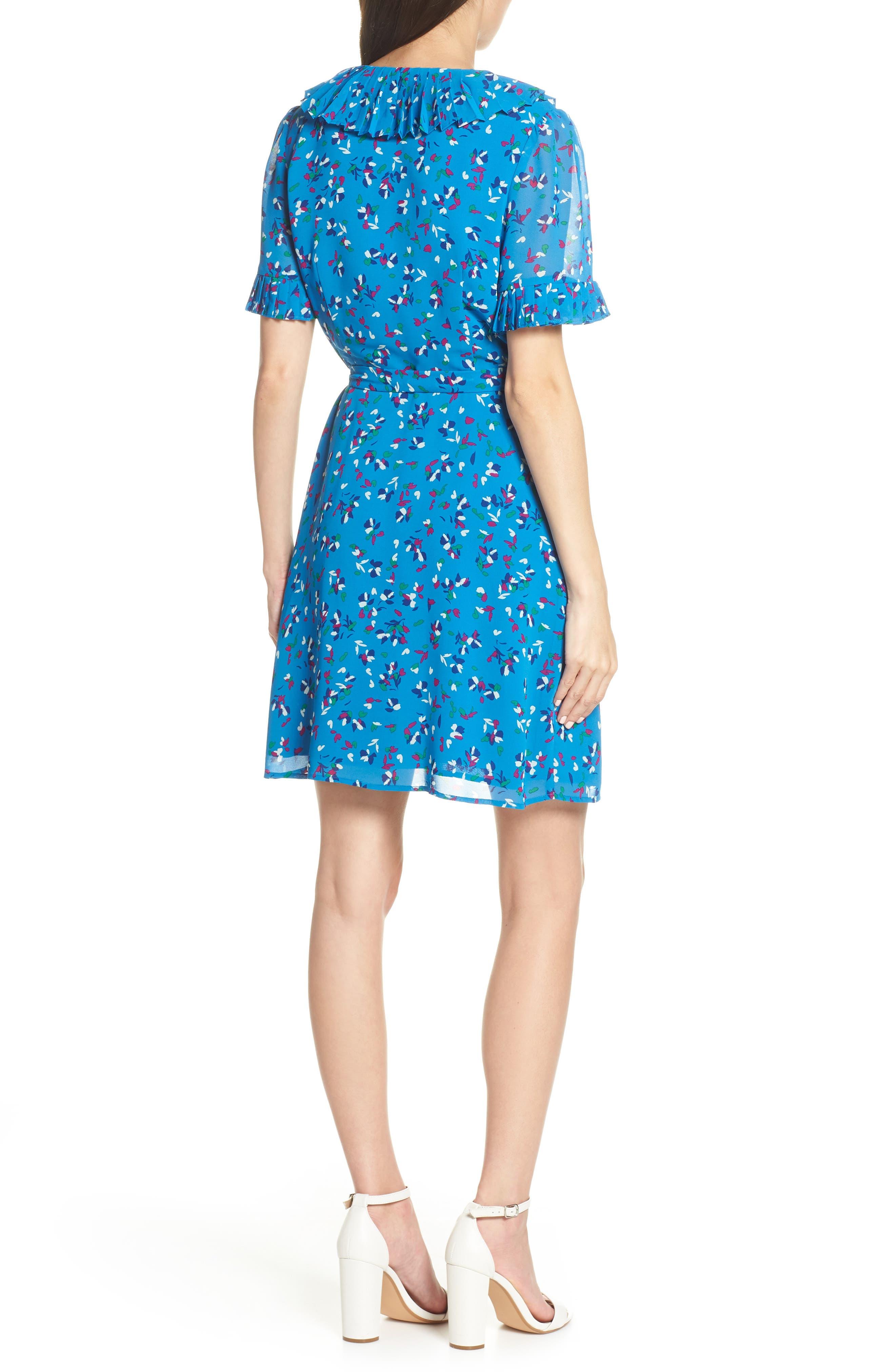 CHARLES HENRY, Pleat Neck Wrap Dress, Alternate thumbnail 4, color, BLUE FLORAL DITZY