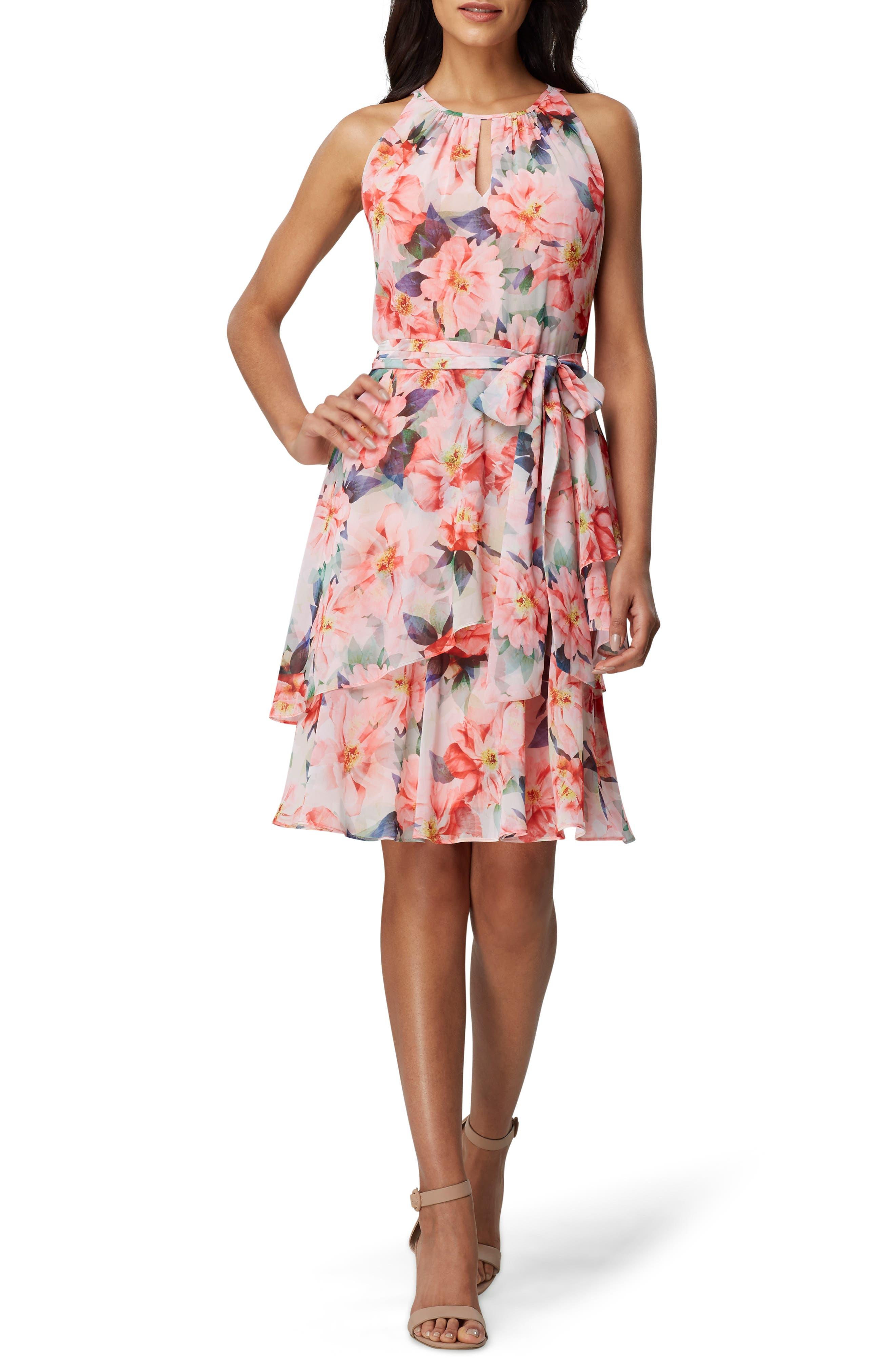 Tahari Floral Chiffon Tiered Shift Dress, Coral