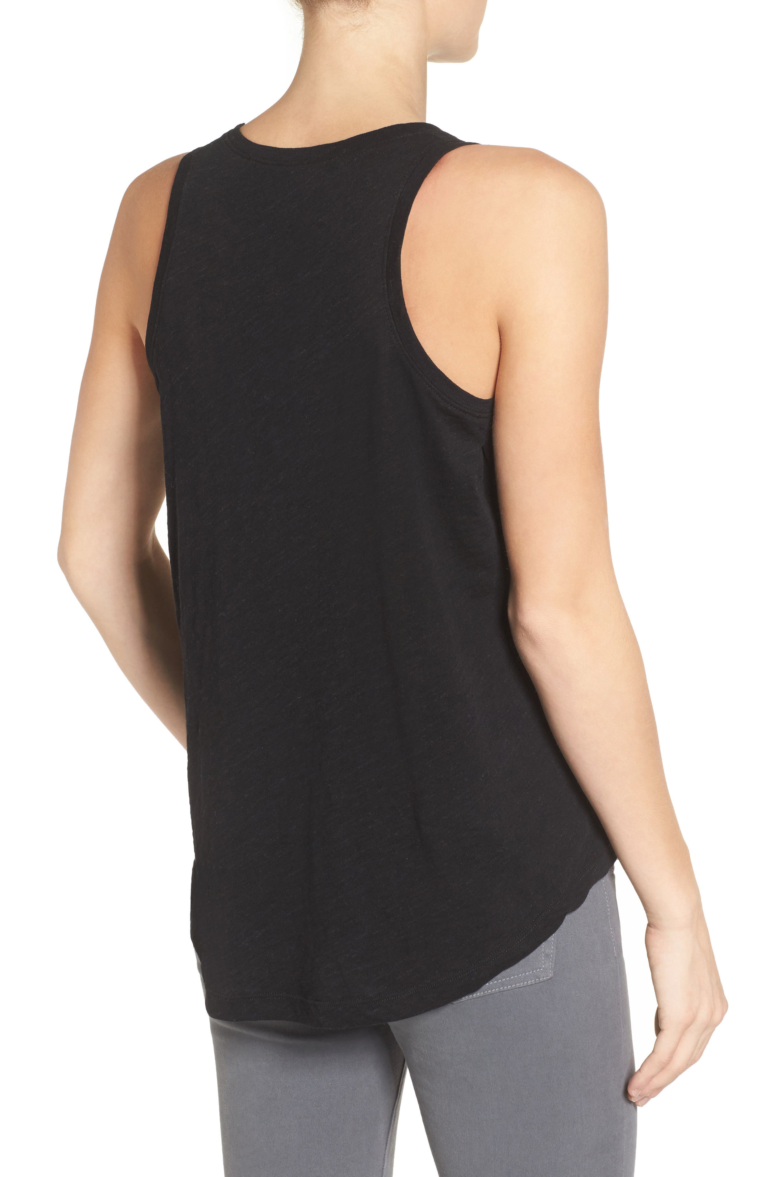 LOYAL HANA, Taylor Maternity/Nursing Tank Top, Alternate thumbnail 2, color, BLACK