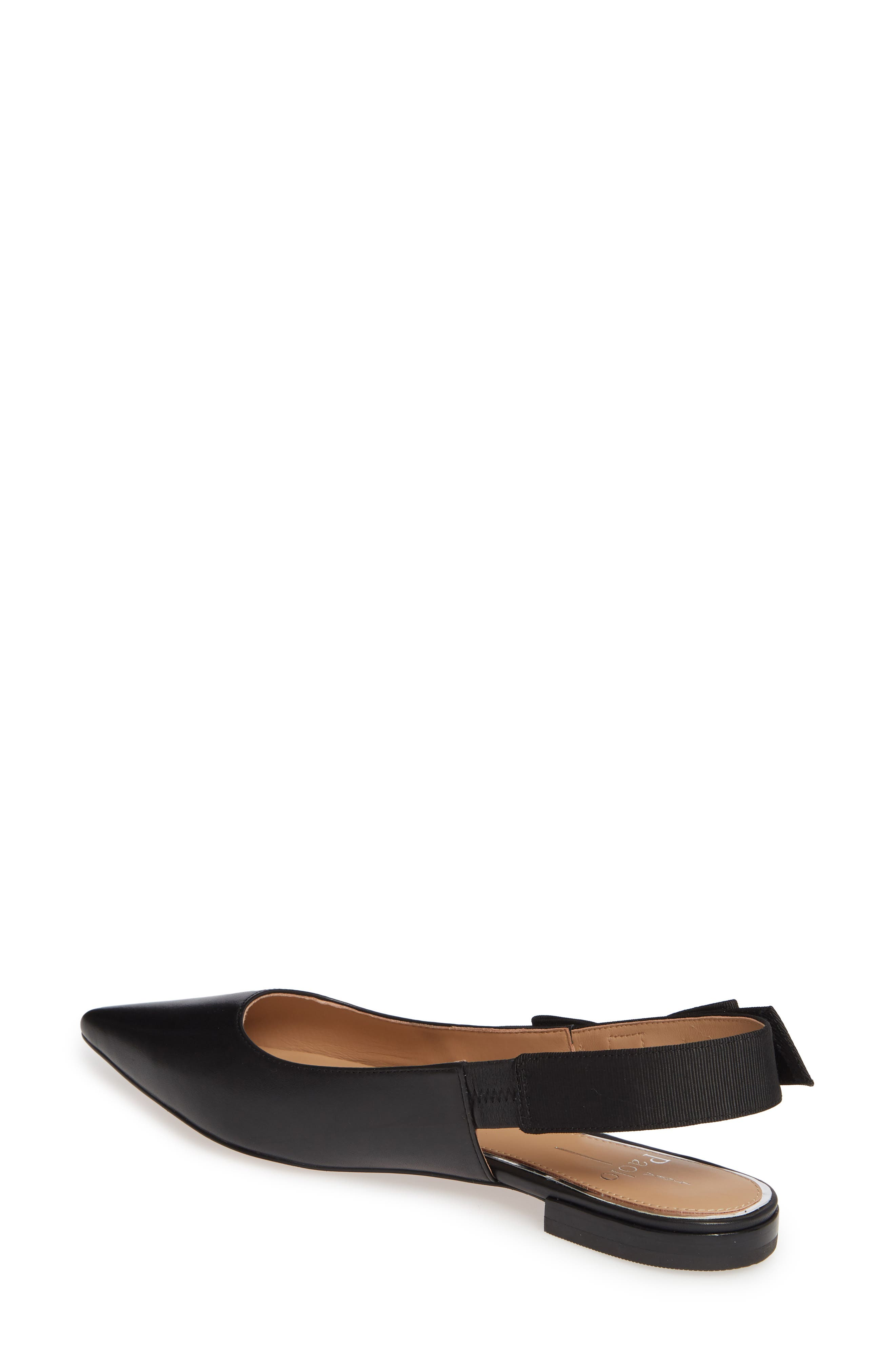 LINEA PAOLO, Darcy Bow Slingback Flat, Alternate thumbnail 2, color, BLACK LEATHER