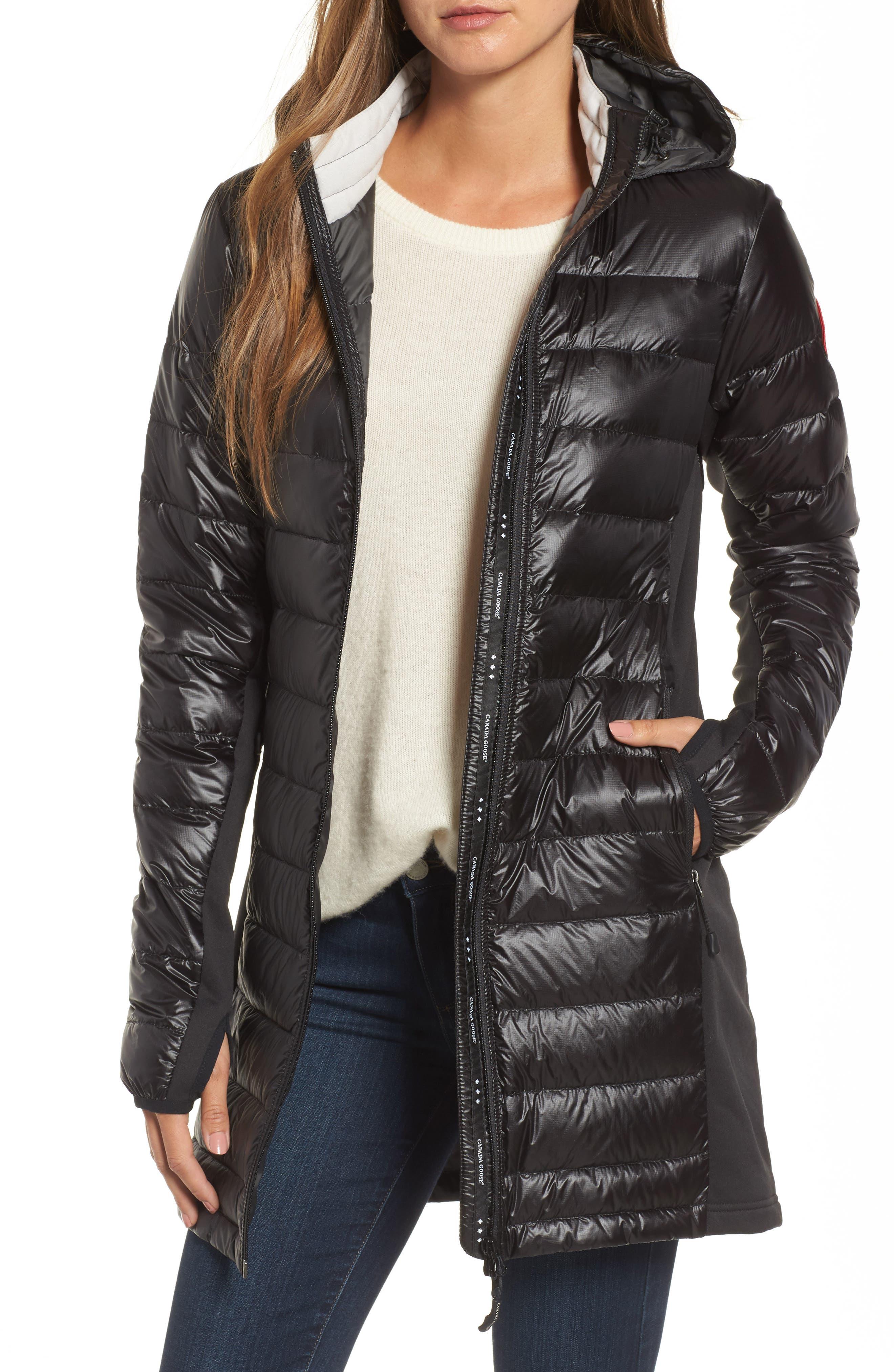 Canada Goose Hybridge Lite Slim Fit Hooded Packable Goose Down Coat, (0) - Black