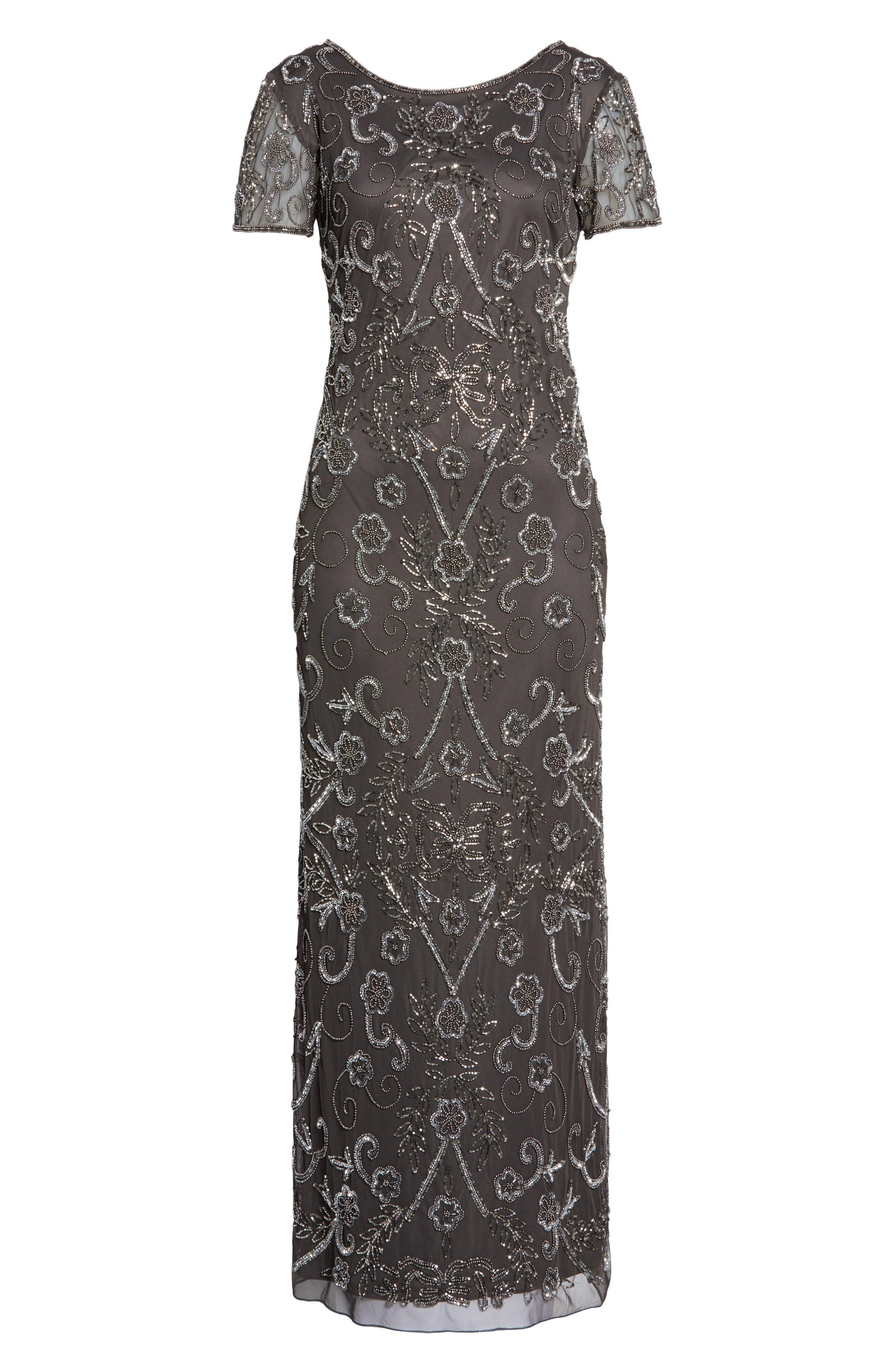 PISARRO NIGHTS, Embellished Mesh Evening Dress, Alternate thumbnail 7, color, SLIVER / GREY