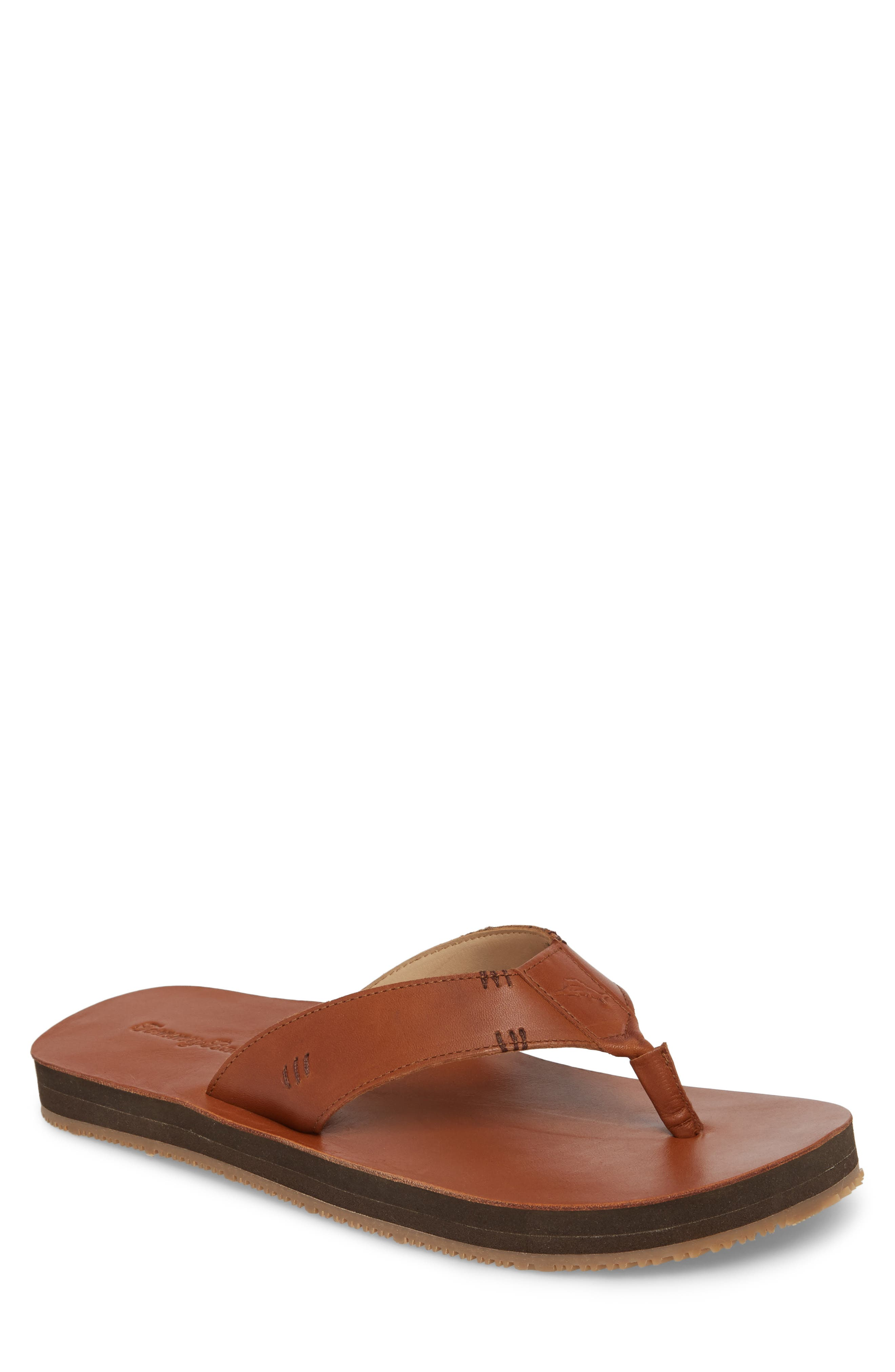 TOMMY BAHAMA Adderly Flip Flop, Main, color, TAN LEATHER