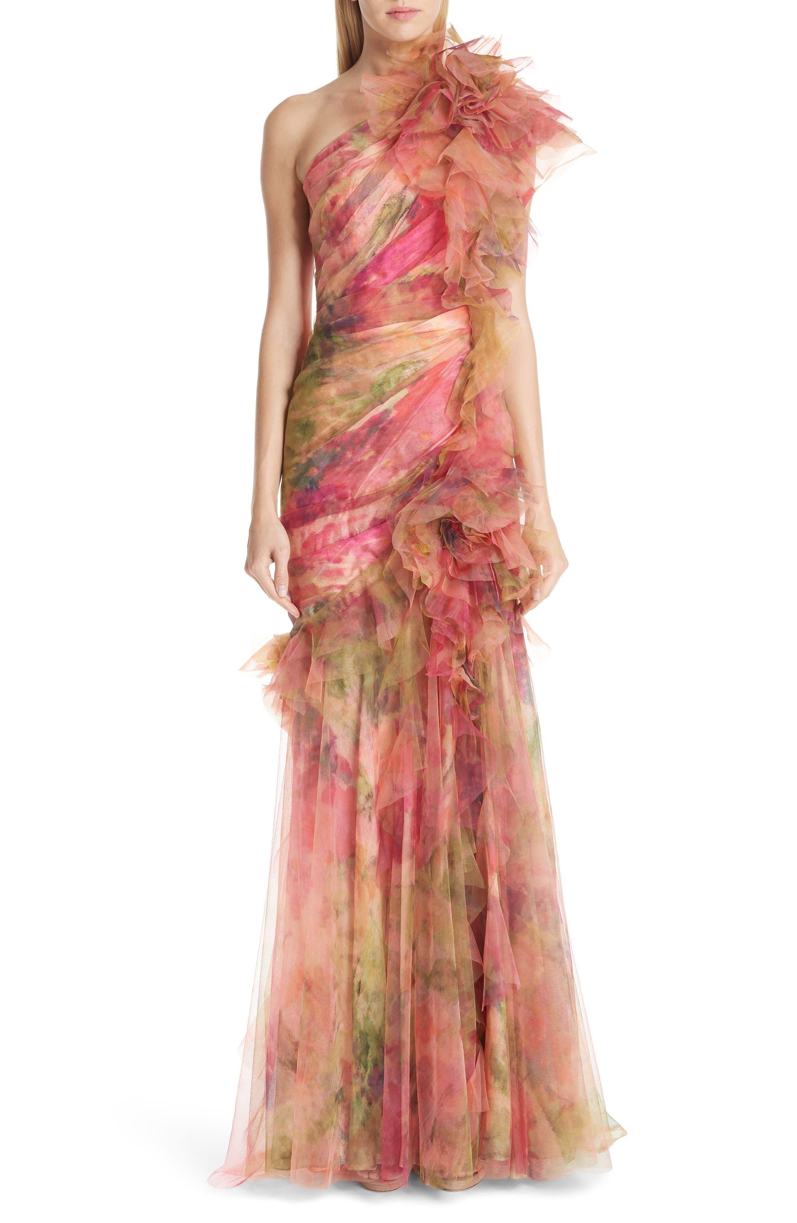 Marchesa Floral One-Shoulder Silk Evening Dress, Coral