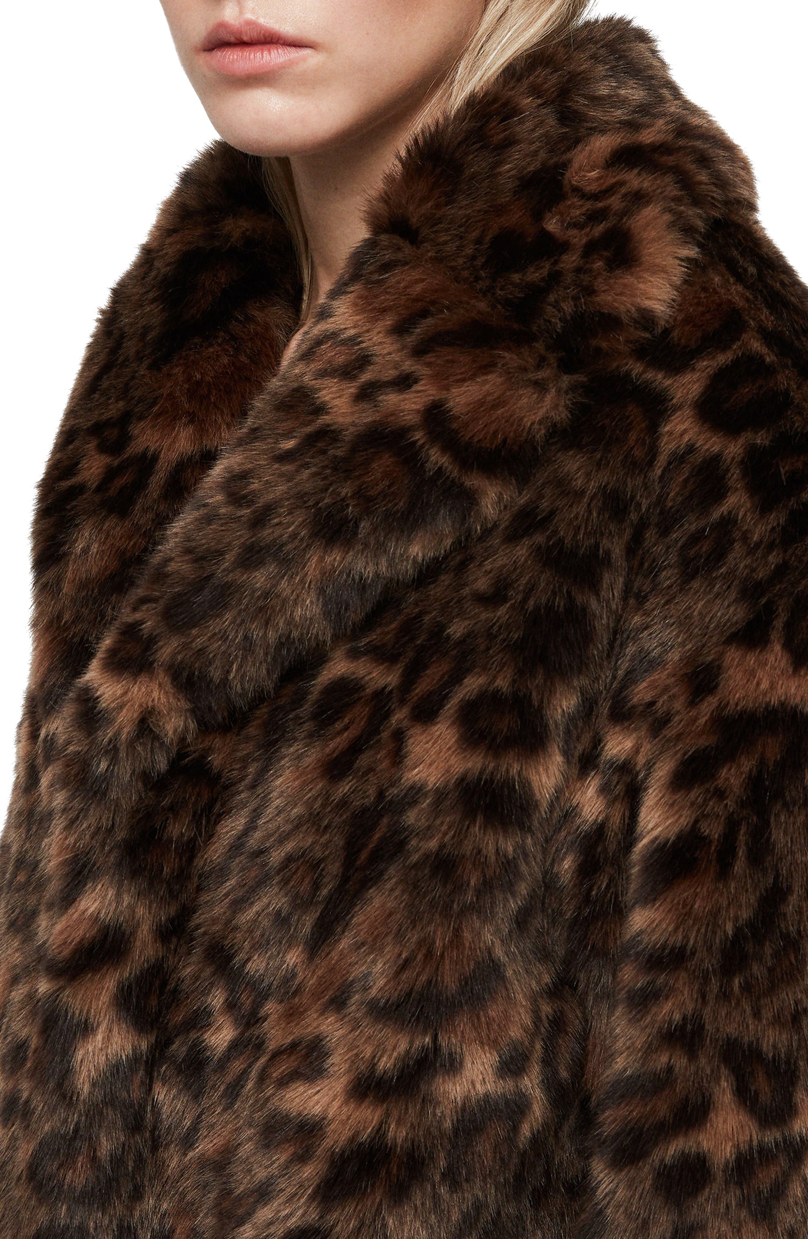 ALLSAINTS, Amice Leopard Spot Faux Fur Jacket, Alternate thumbnail 5, color, 200