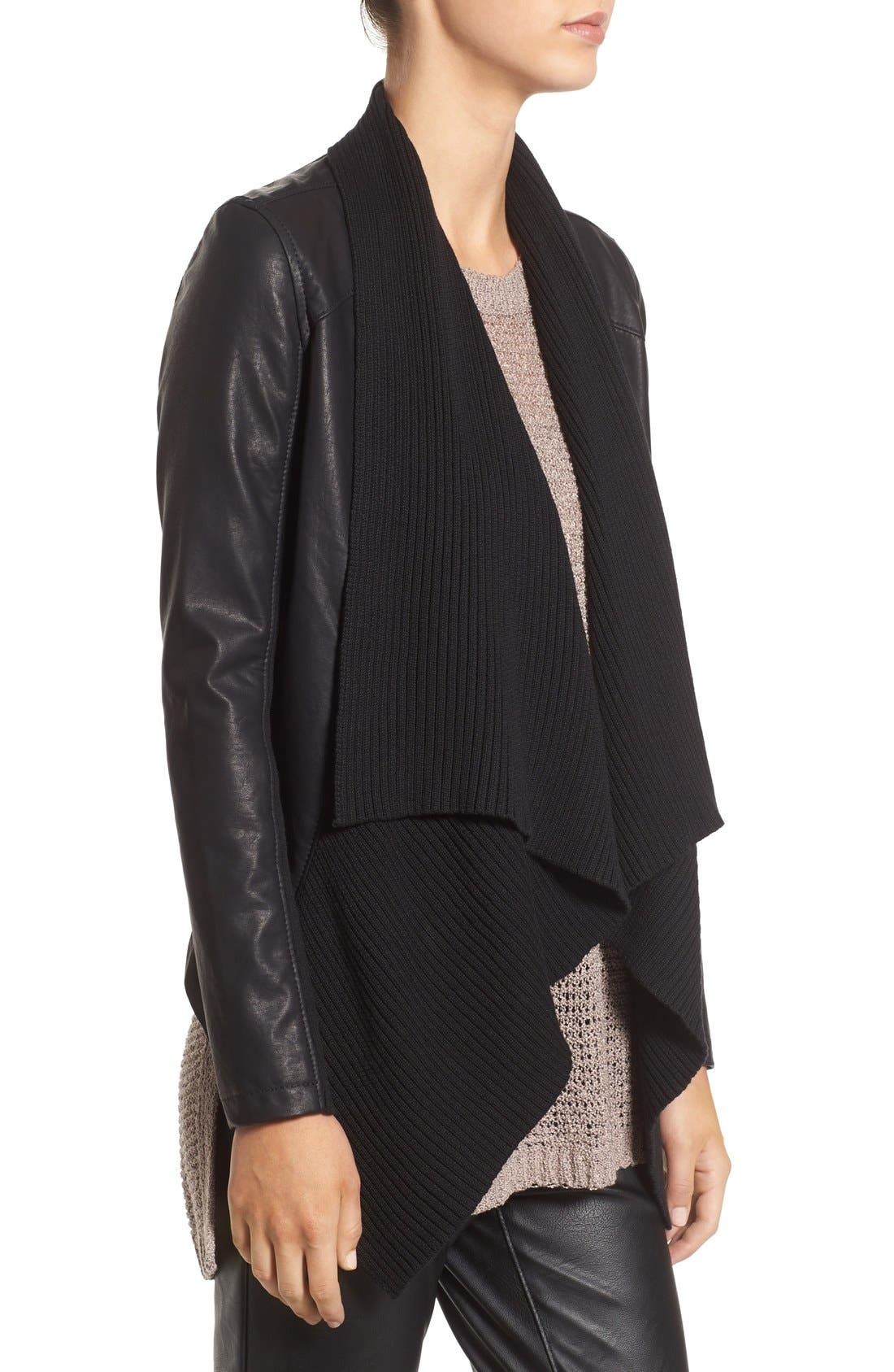 BLANKNYC, All or Nothing Faux Leather Jacket, Alternate thumbnail 4, color, 001