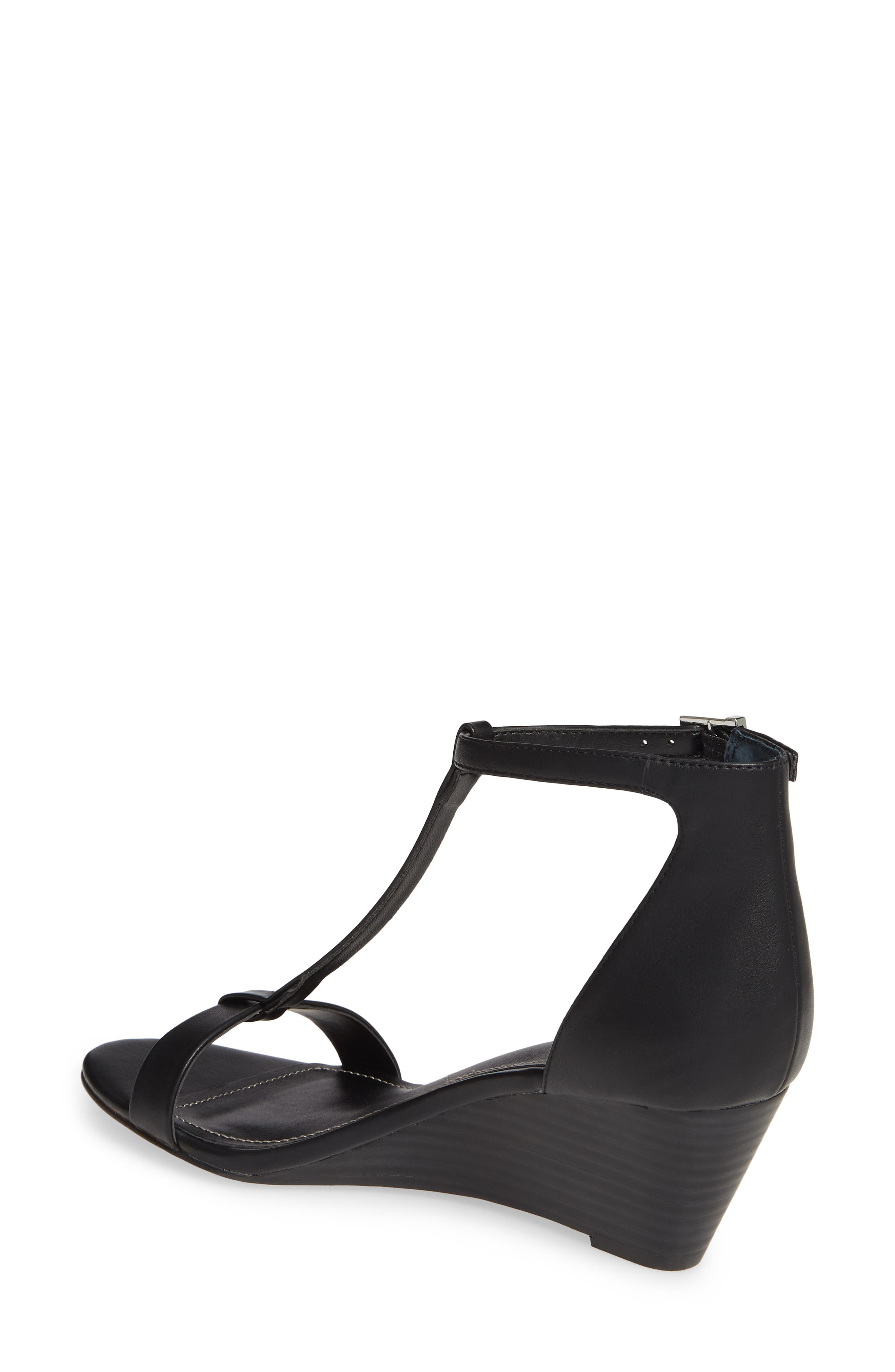 CHARLES BY CHARLES DAVID, Georgette Wedge Sandal, Alternate thumbnail 2, color, BLACK FAUX LEATHER