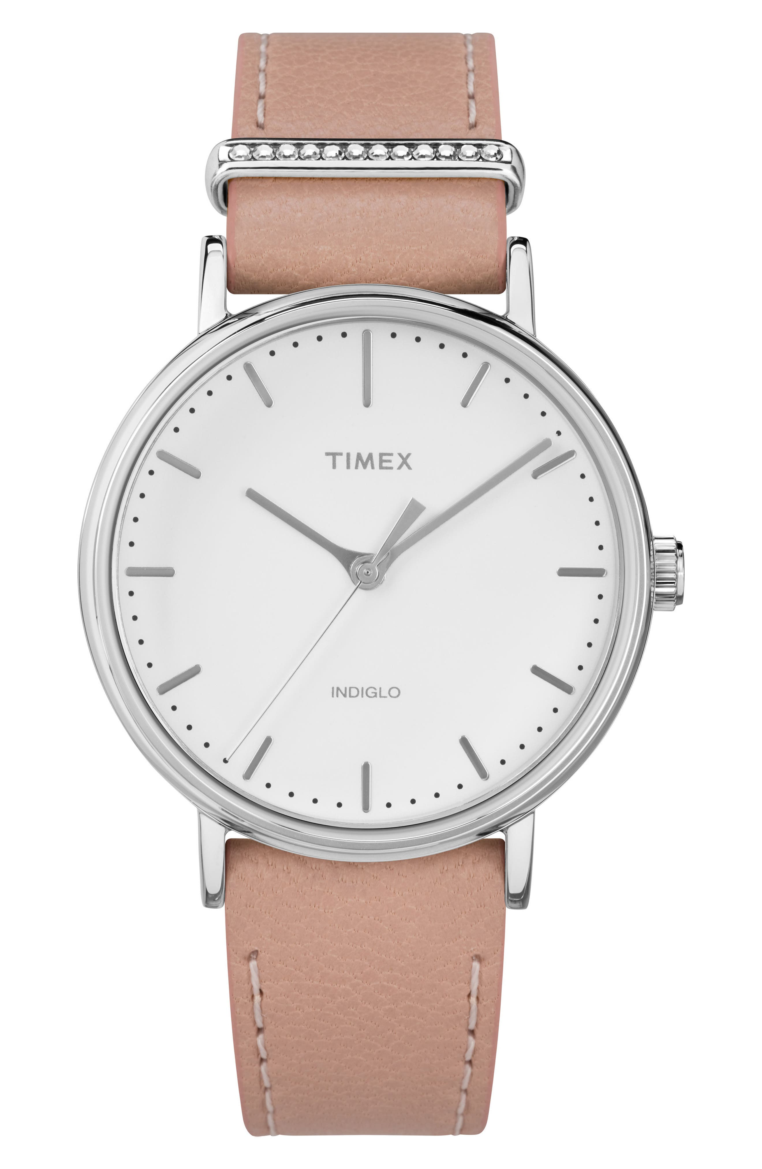TIMEX<SUP>®</SUP> Timex Fairfield Leather Strap Watch, 37mm, Main, color, PINK/ WHITE/ SILVER