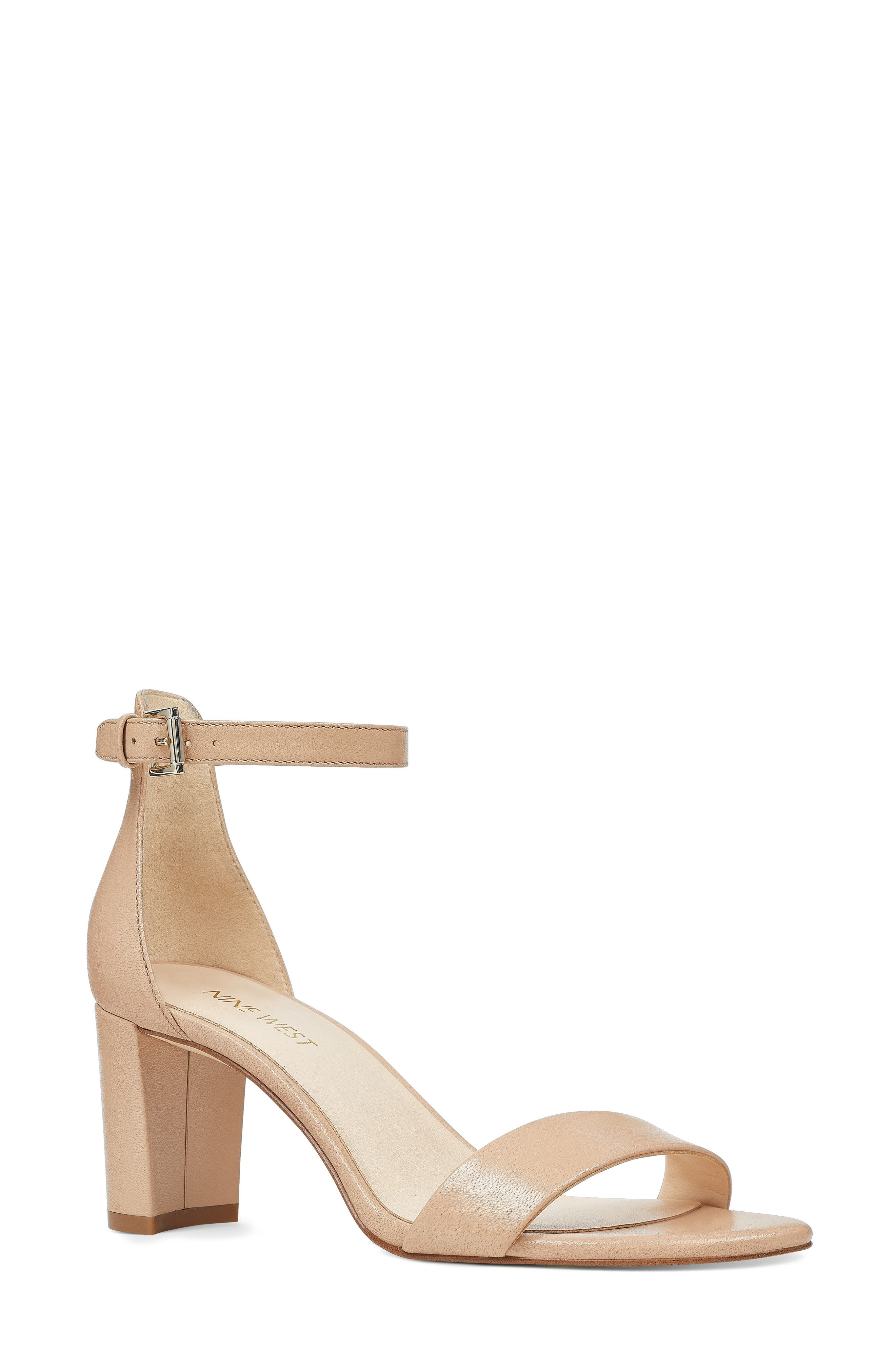 NINE WEST, Pruce Ankle Strap Sandal, Main thumbnail 1, color, LIGHT NATURAL LEATHER