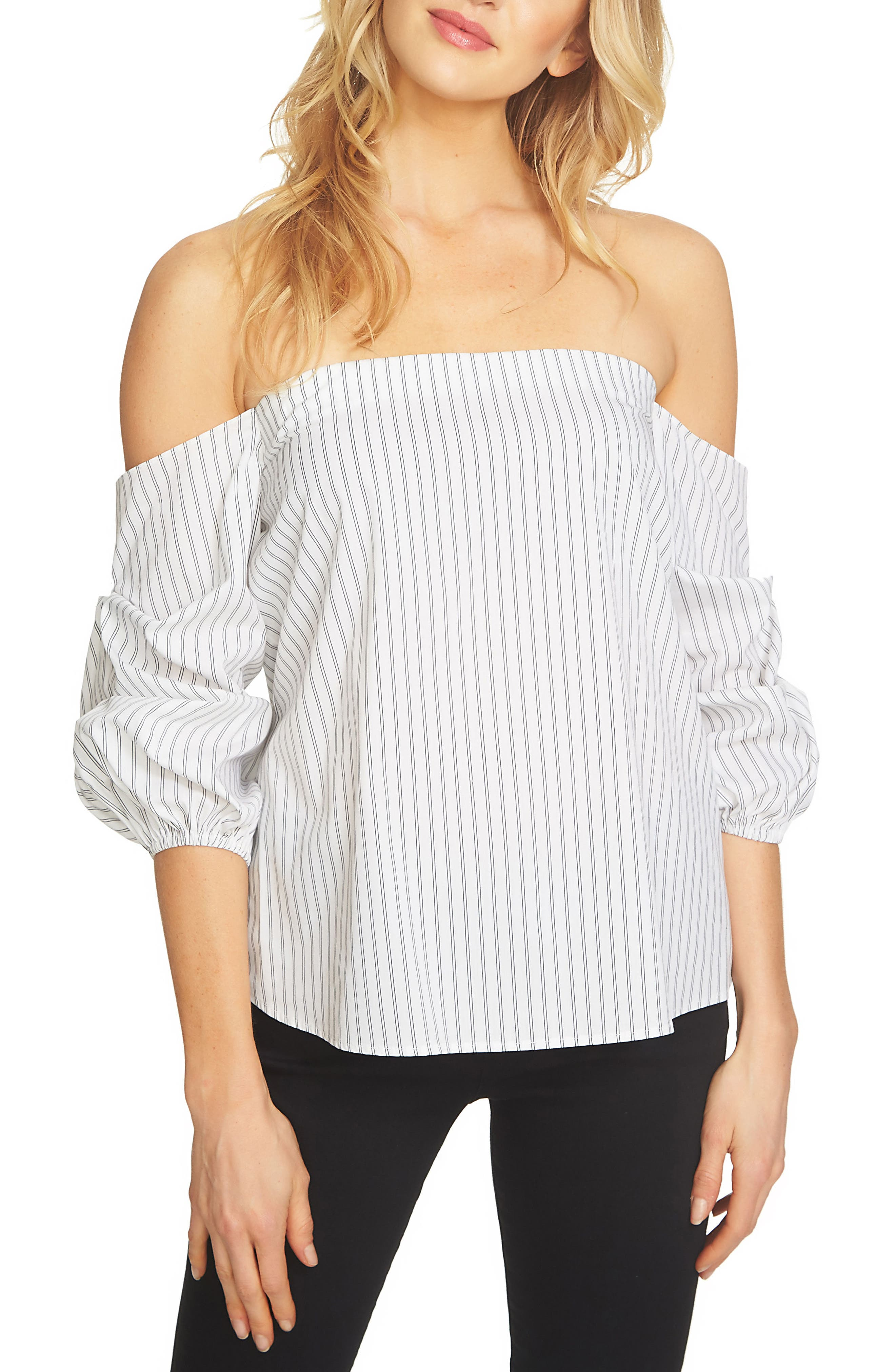 1.STATE, Off the Shoulder Stretch Cotton Blouse, Main thumbnail 1, color, 010