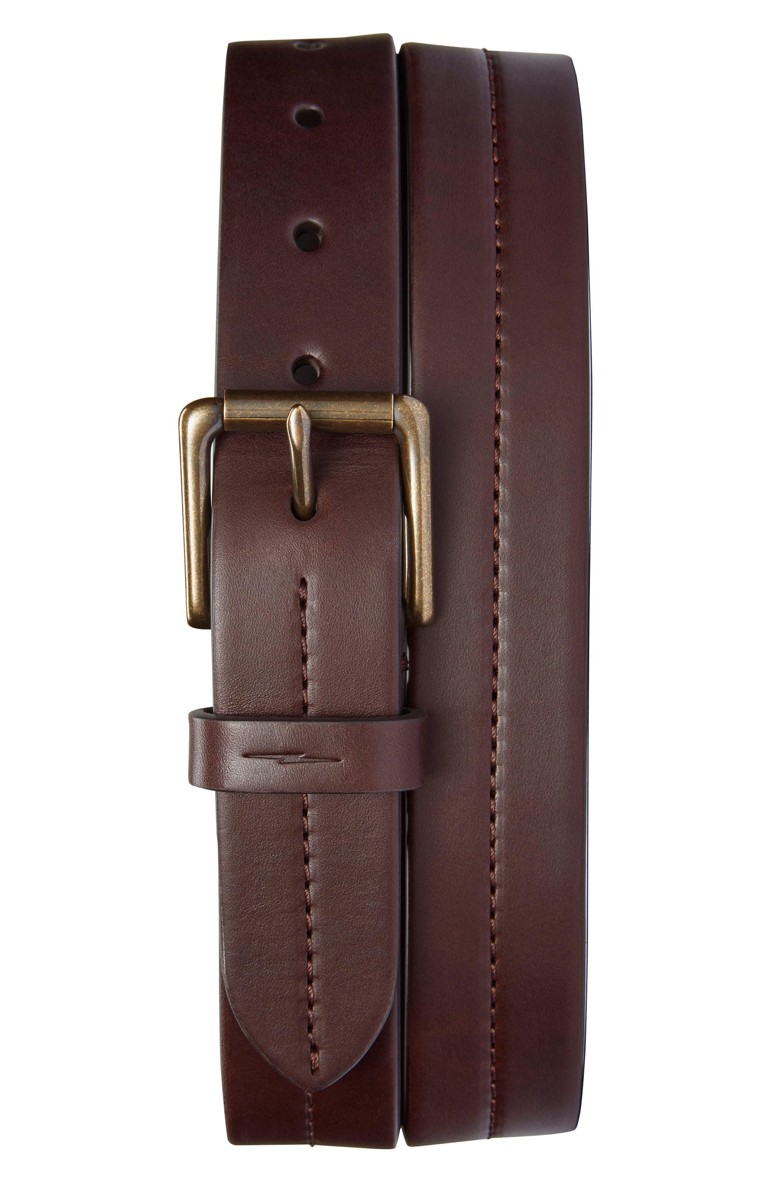 SHINOLA, Leather Belt, Main thumbnail 1, color, DEEP BROWN