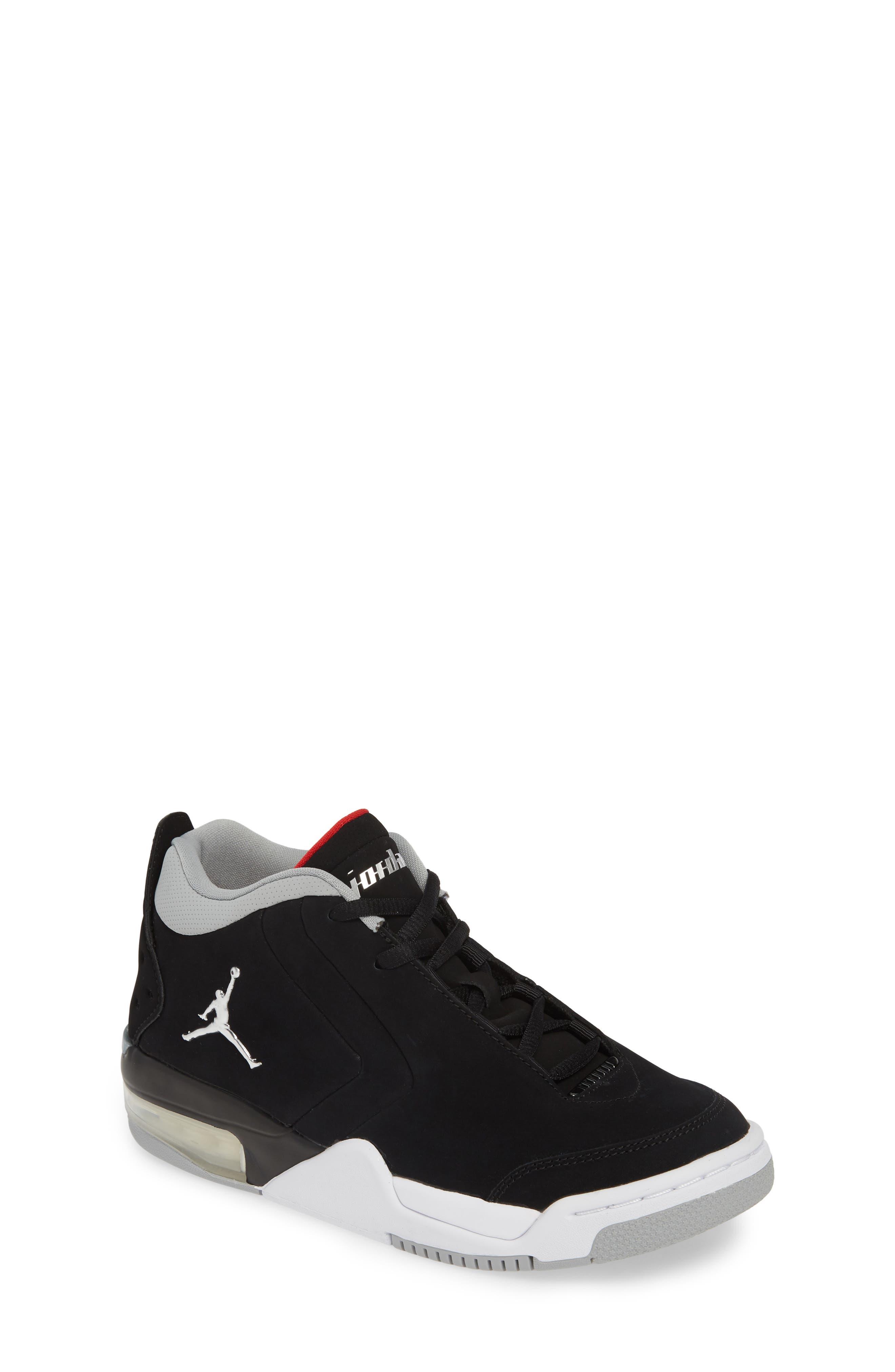 JORDAN, Big Fund Mid Top Basketball Sneaker, Main thumbnail 1, color, BLACK/ METALLIC SILVER-WHITE