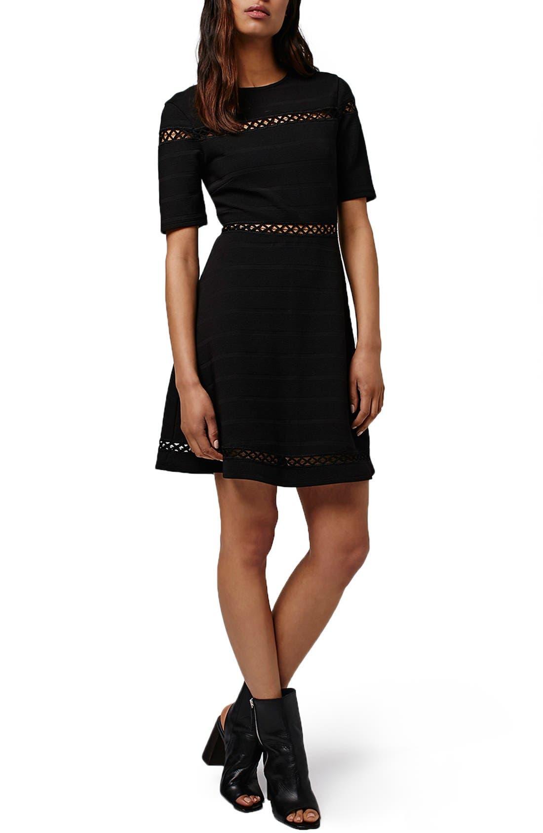 TOPSHOP Openwork Inset Bandage Skater Dress, Main, color, 001