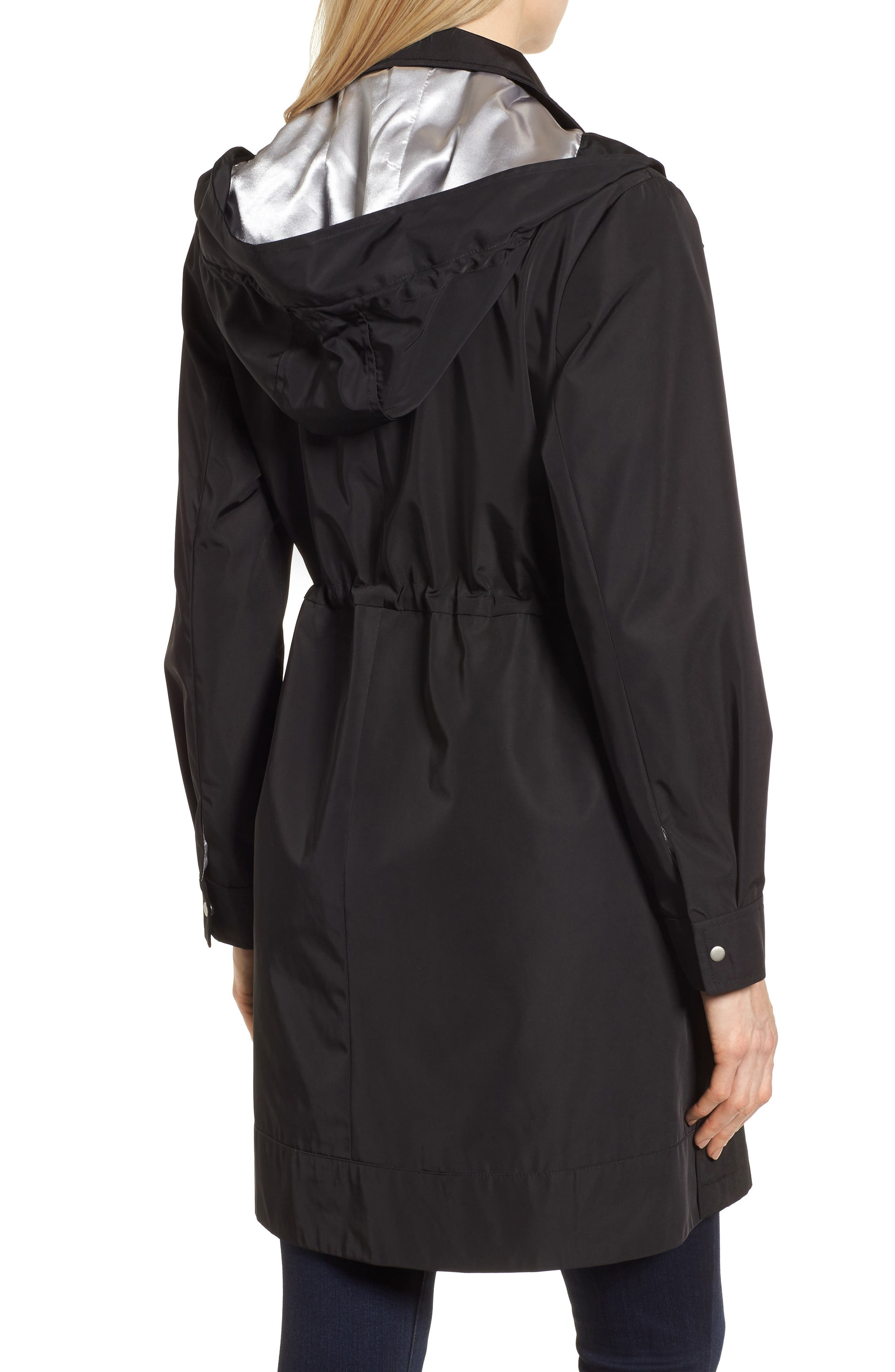 KRISTEN BLAKE, Tech Hooded Trench Coat, Alternate thumbnail 2, color, BLACK