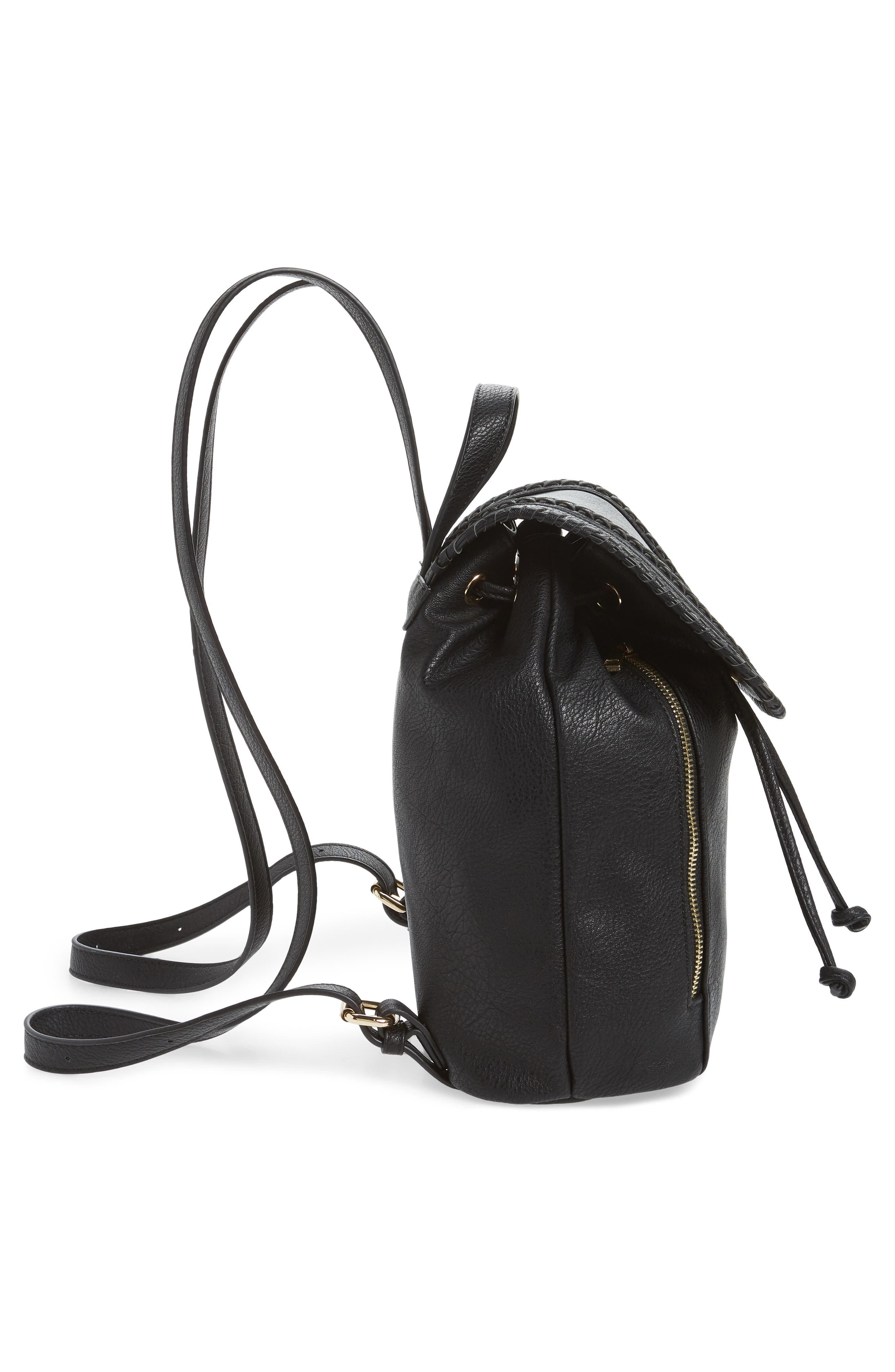 SOLE SOCIETY, Destin Faux Leather Backpack, Alternate thumbnail 6, color, BLACK