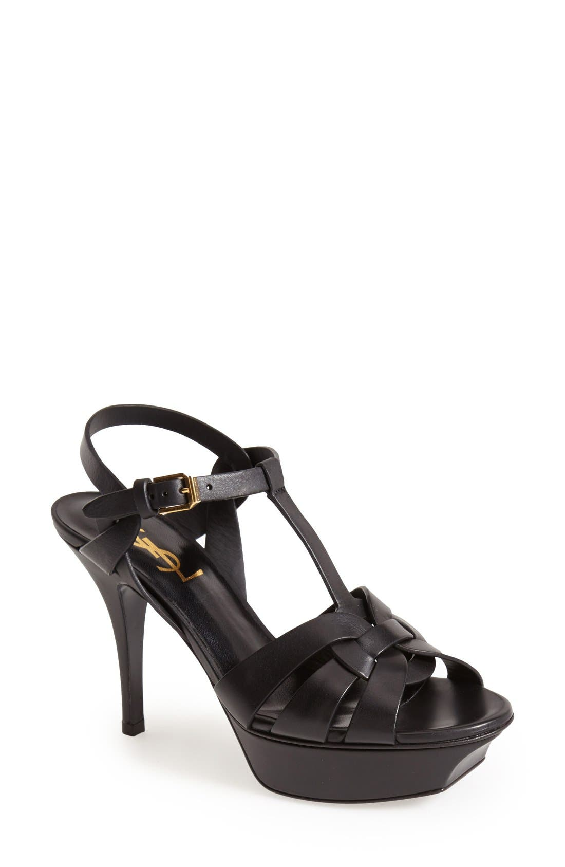 SAINT LAURENT, Tribute T-Strap Sandal, Main thumbnail 1, color, 001