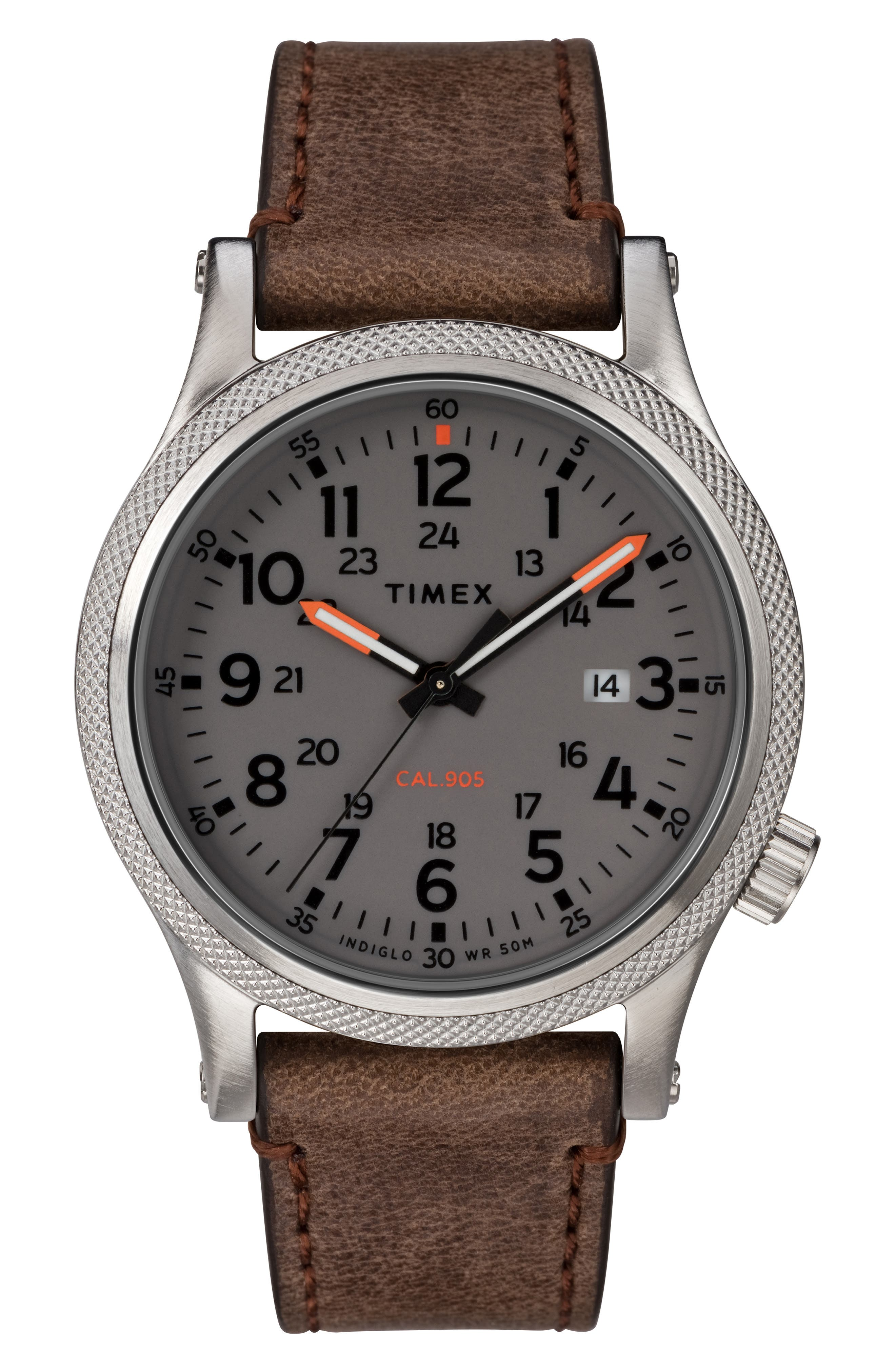 TIMEX<SUP>®</SUP> Allied Leather Strap Watch, 40mm, Main, color, BROWN/ GREY/ SILVER