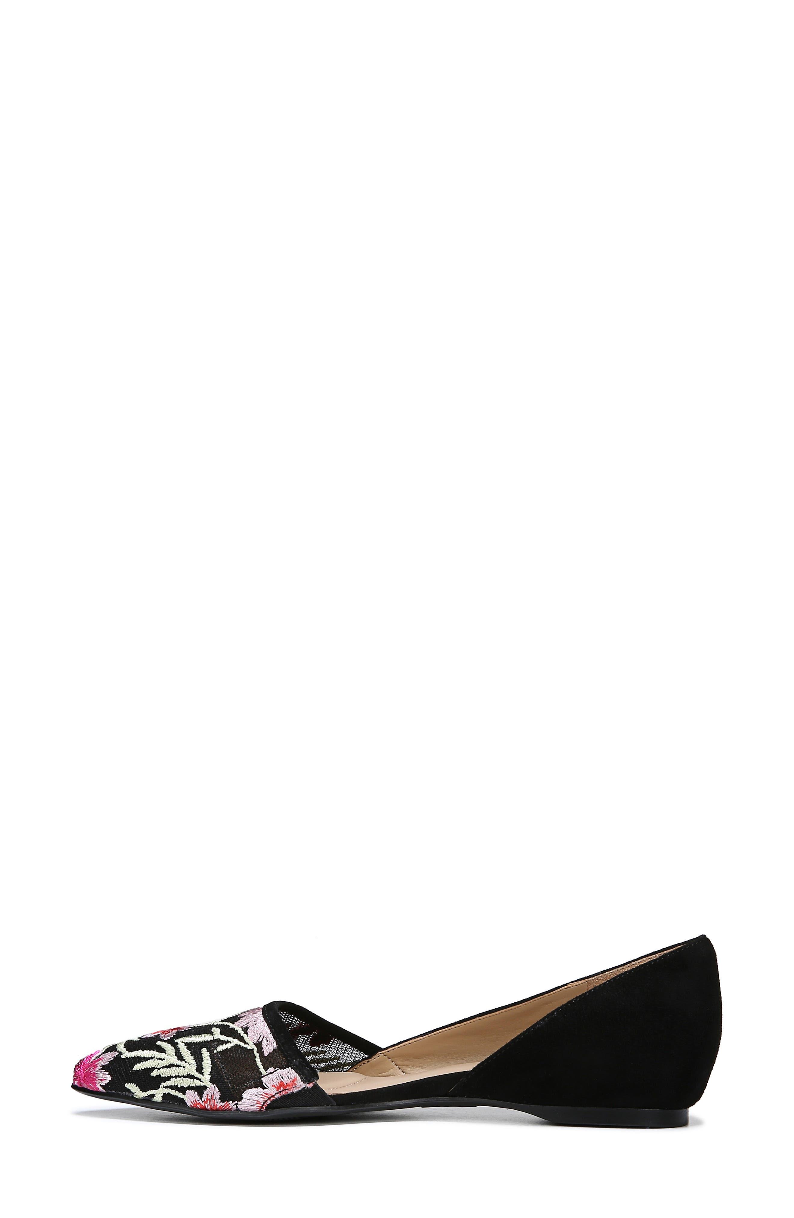 NATURALIZER, Samantha Half d'Orsay Flat, Alternate thumbnail 9, color, BLACK FLORAL SUEDE