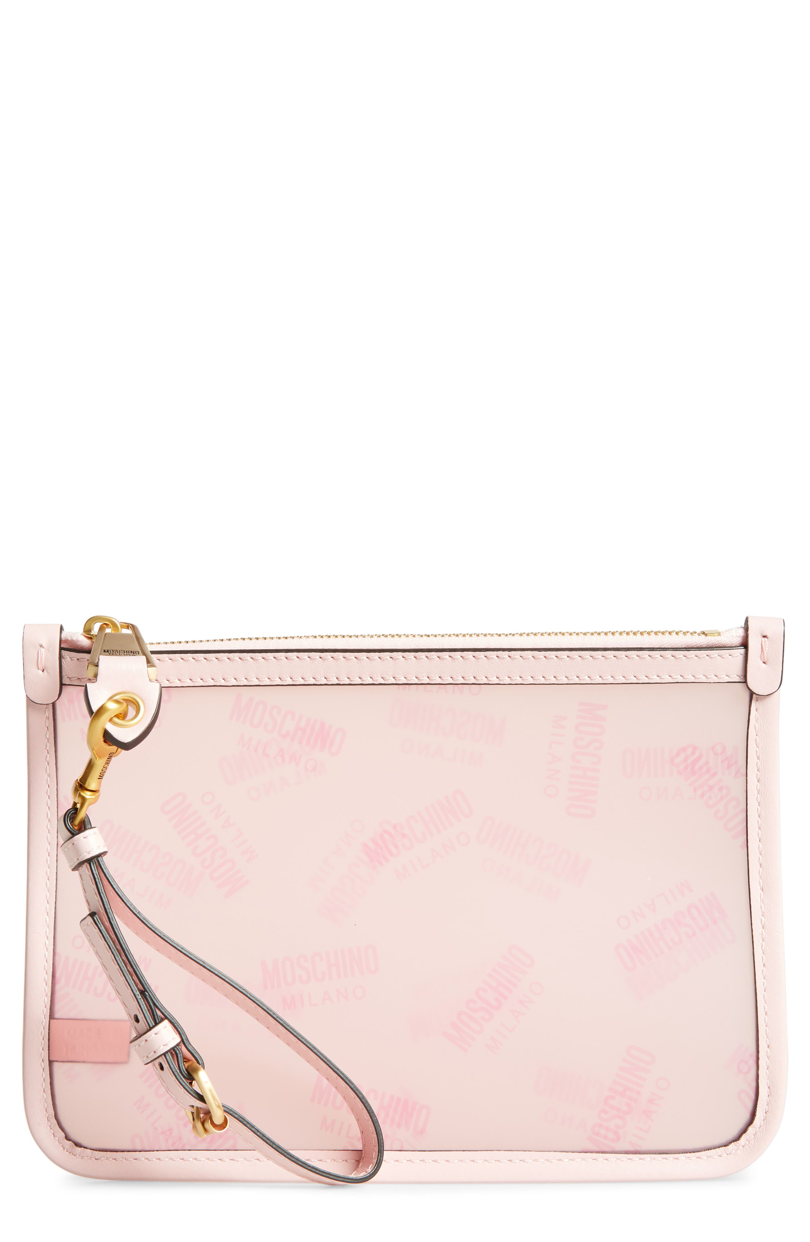 MOSCHINO, Transparent Logo Pouch, Main thumbnail 1, color, 683