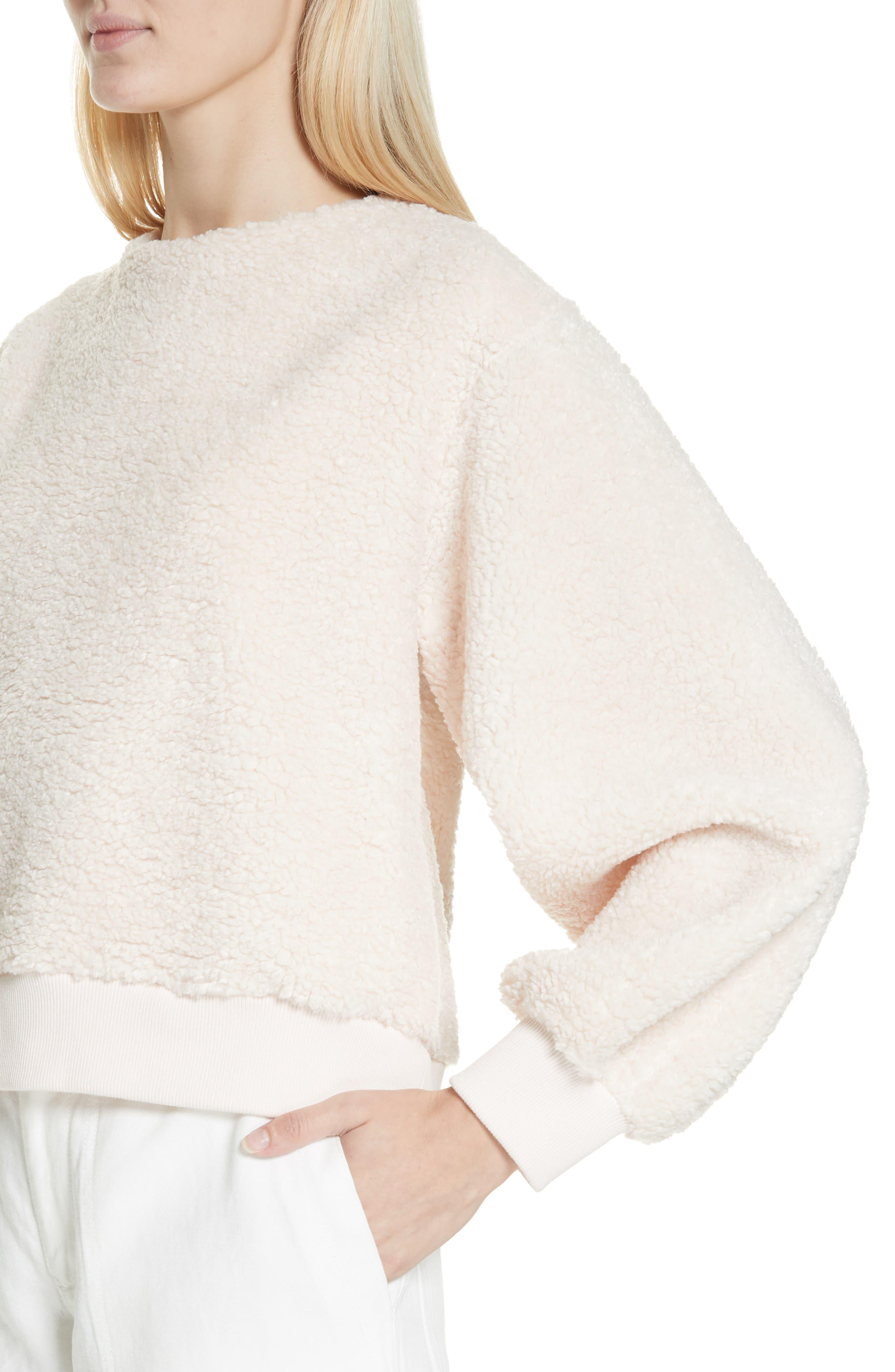 VINCE, Cozy Fleece Pullover, Alternate thumbnail 4, color, SOFT PINK