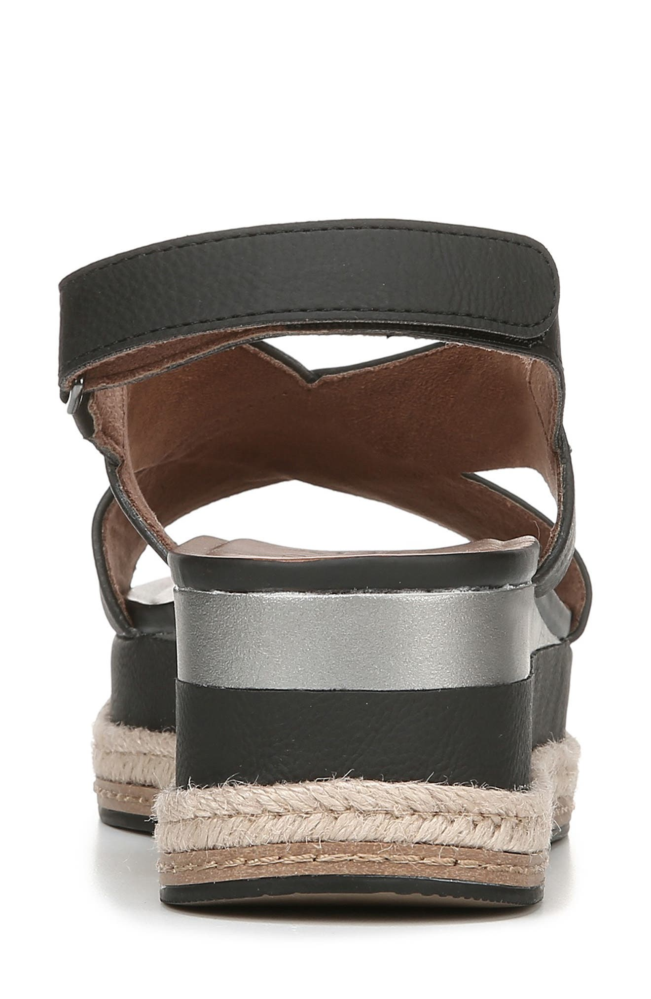 NATURALIZER, Baya Espadrille Wedge Sandal, Alternate thumbnail 7, color, BLACK NUBUCK LEATHER