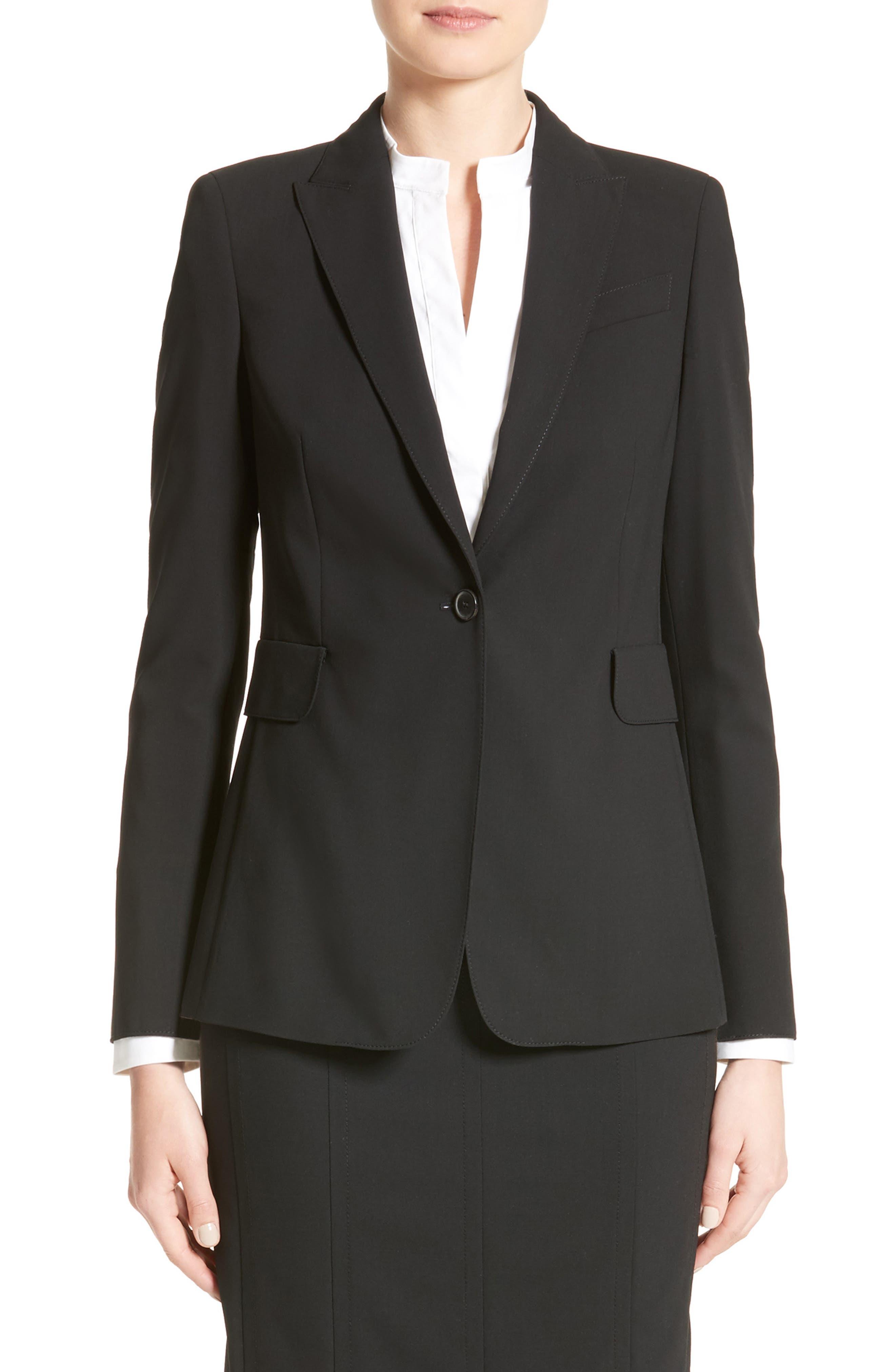 AKRIS PUNTO, Long One-Button Jacket, Main thumbnail 1, color, BLACK