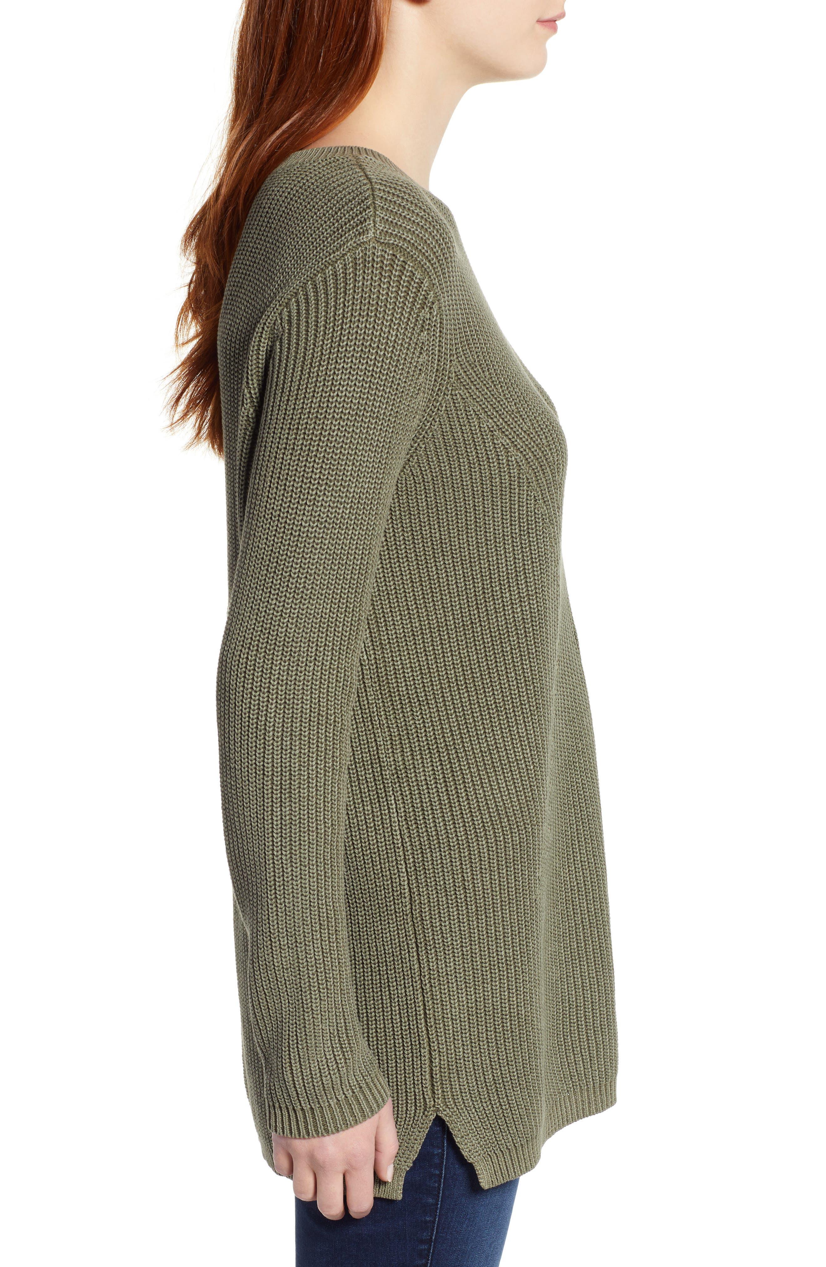 CASLON<SUP>®</SUP>, Tie Back Tunic Sweater, Alternate thumbnail 3, color, OLIVE SARMA