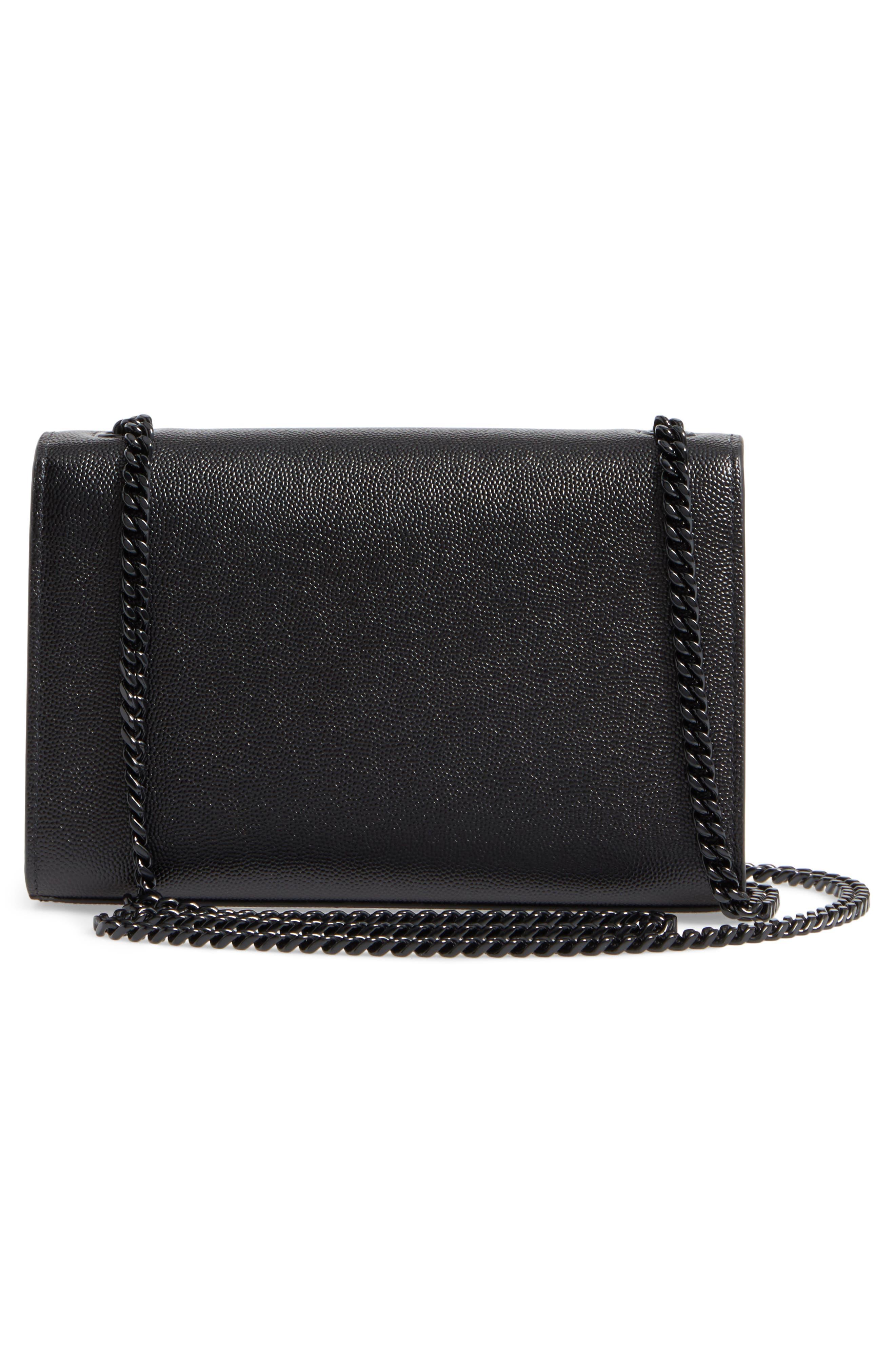 SAINT LAURENT, Small Kate Leather Shoulder Bag, Alternate thumbnail 4, color, BLACK