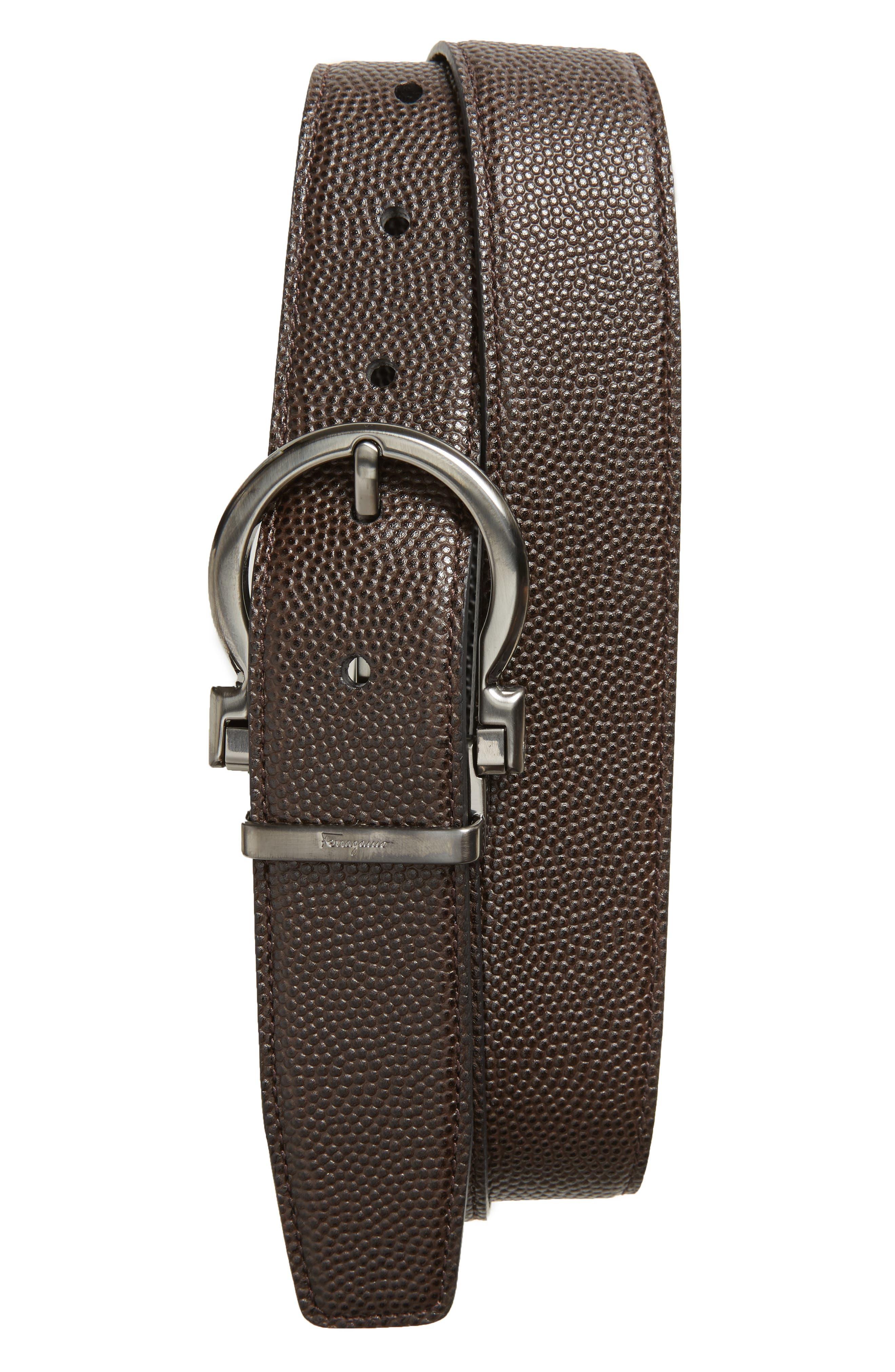 SALVATORE FERRAGAMO, Salvatore Ferragaom Reversible Leather Belt, Main thumbnail 1, color, CHOCOLATE/ BLACK