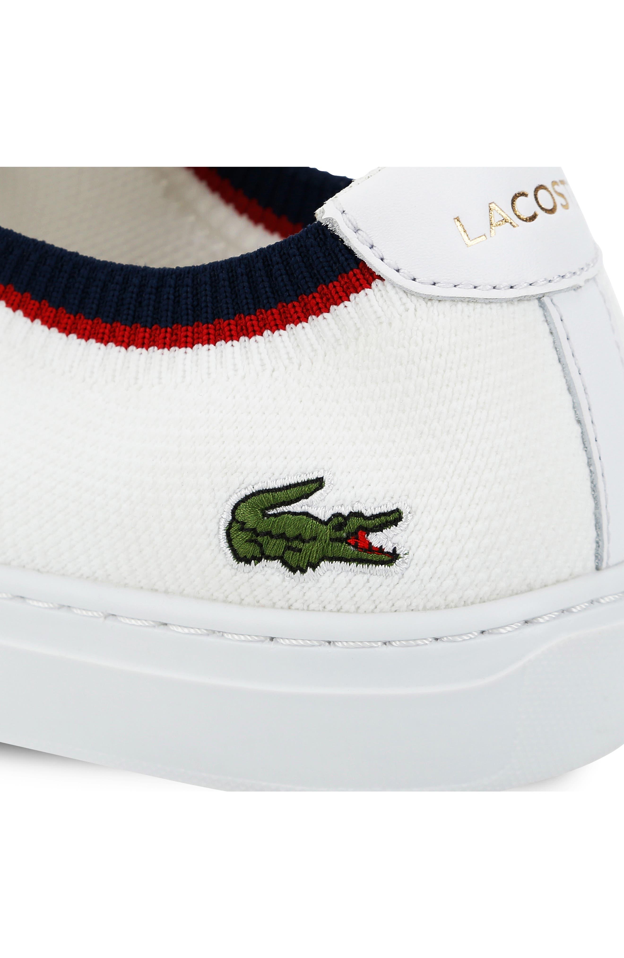 LACOSTE, Piqué Knit Sneaker, Alternate thumbnail 7, color, WHITE/ NAVY/ RED