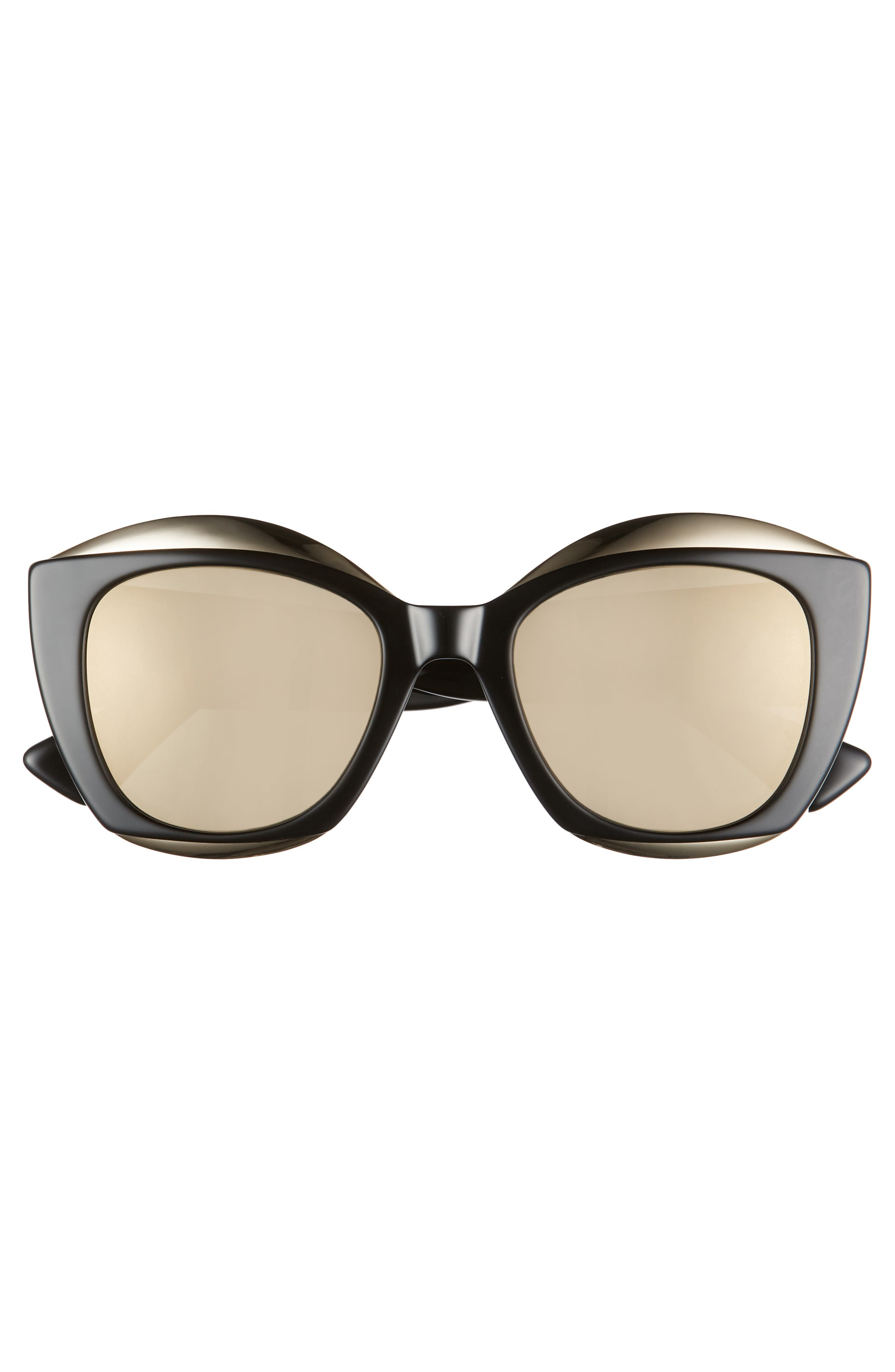MOSCHINO, 52mm Cat Eye Sunglasses, Alternate thumbnail 3, color, BLACK