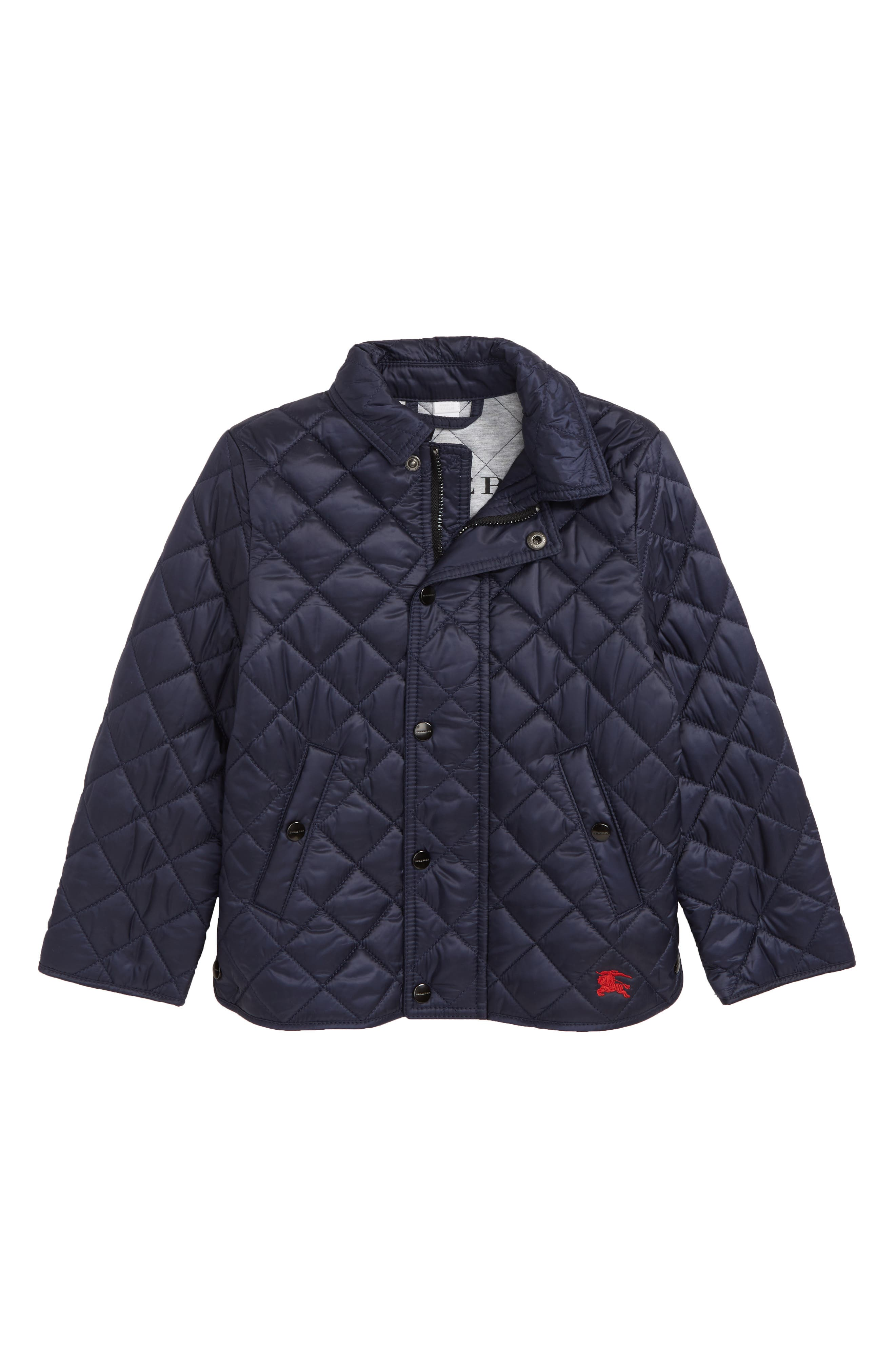 BURBERRY Mini Lyle Diamond Quilted Jacket, Main, color, INK