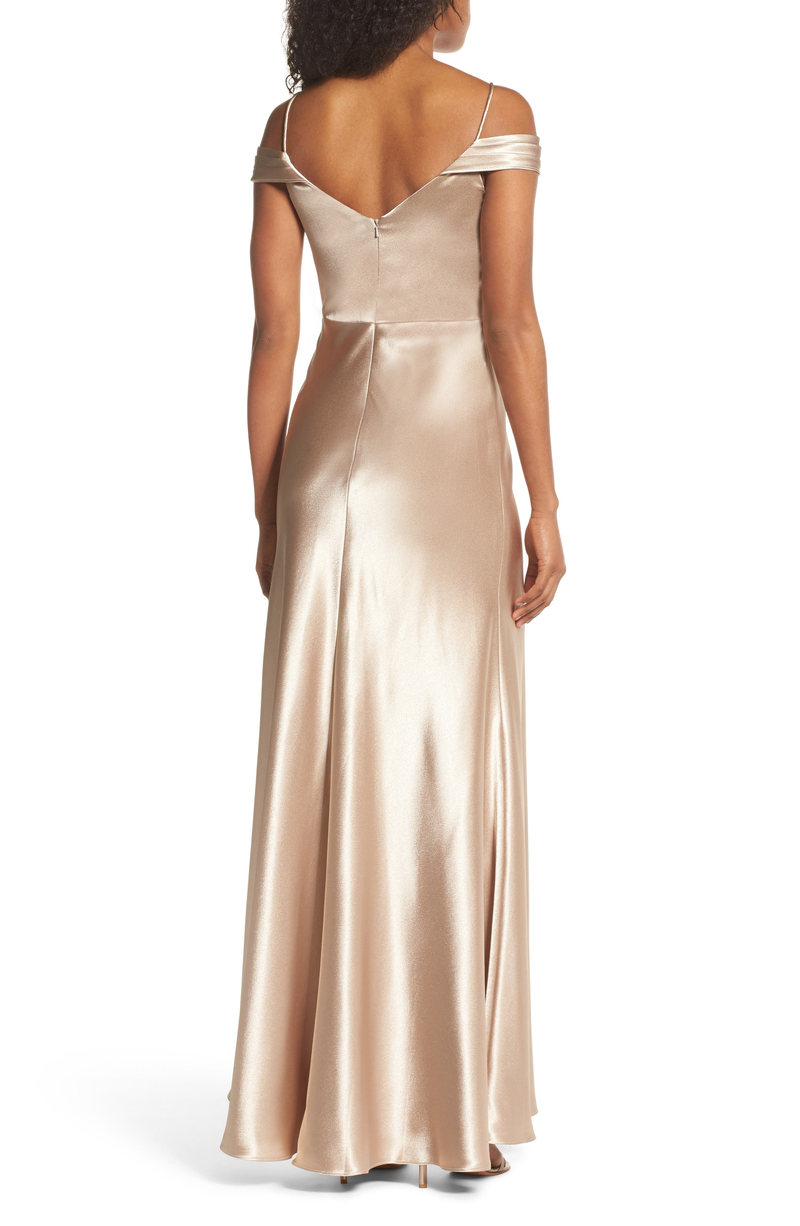 JENNY YOO, Serene Satin Off the Shoulder Gown, Alternate thumbnail 2, color, LATTE