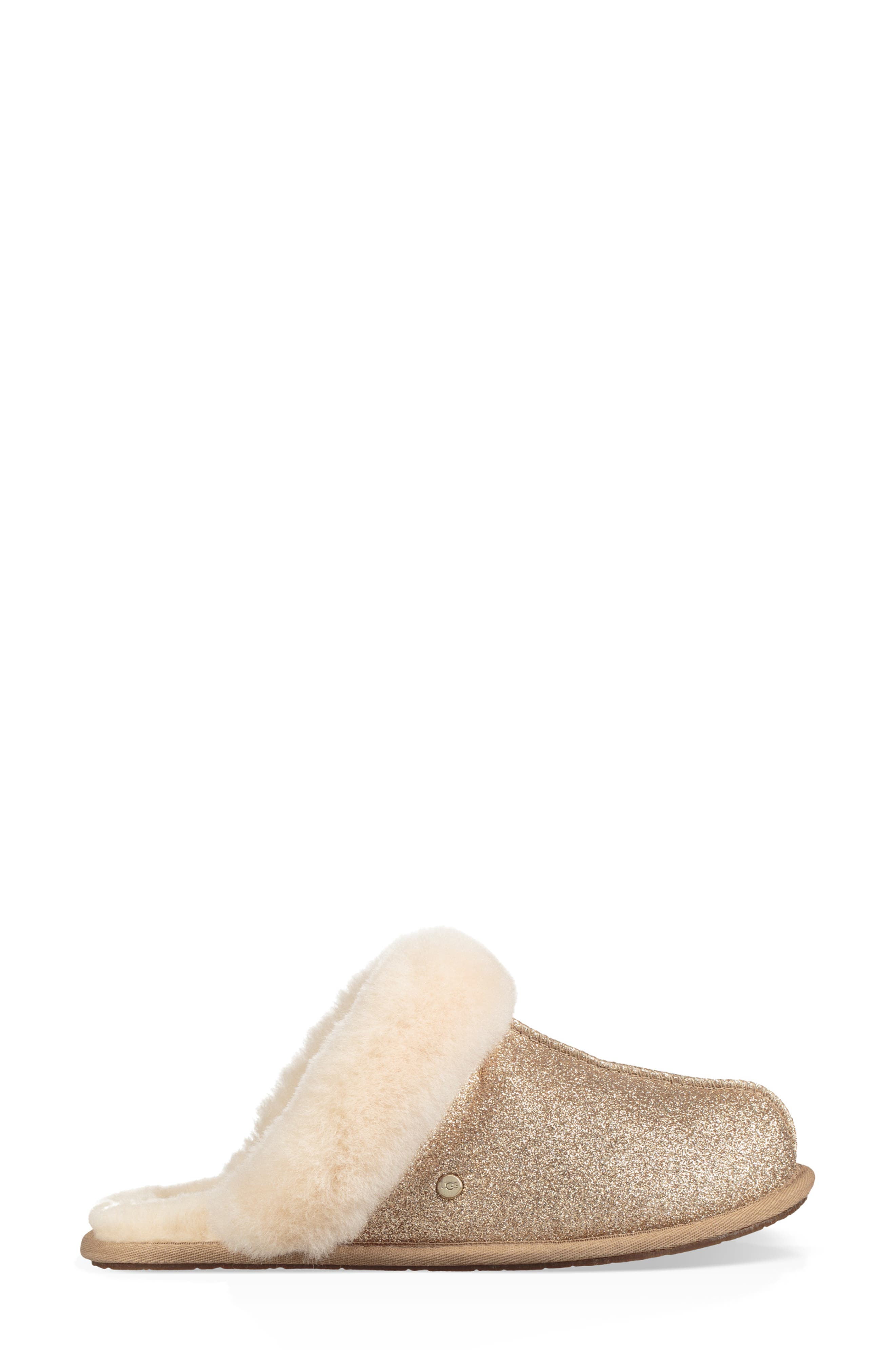 UGG<SUP>®</SUP>, Scuffette II Sparkle Genuine Shearling Slipper, Alternate thumbnail 3, color, GOLD