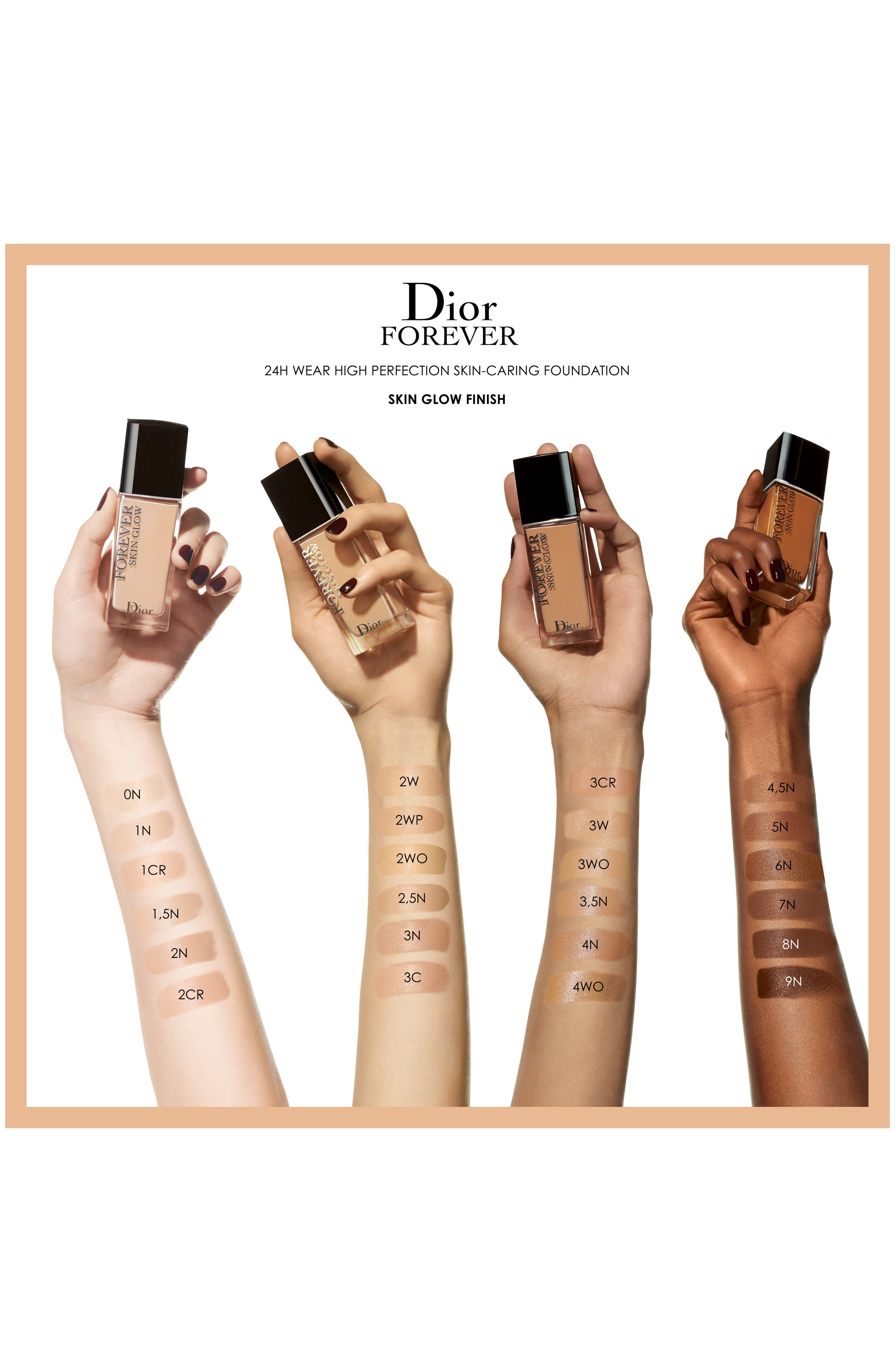 DIOR, Forever Skin Glow Radiant Perfection Skin-Caring Foundation SPF 35, Alternate thumbnail 3, color, 1 COOL ROSY