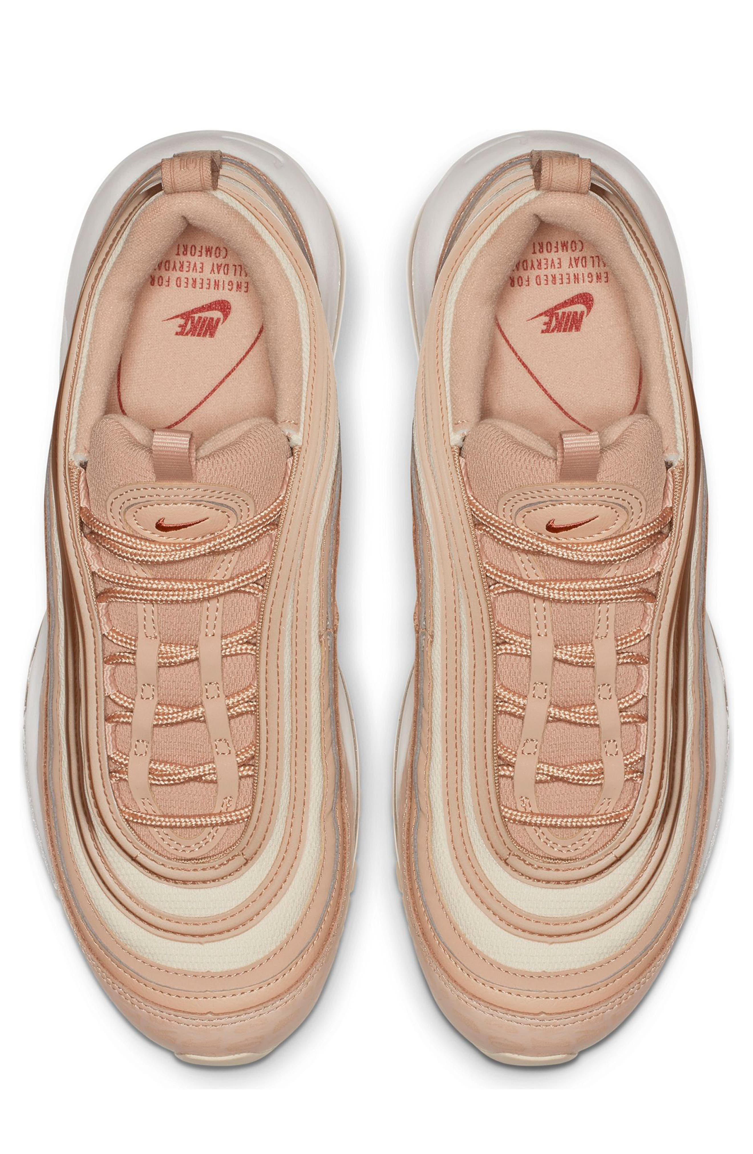 NIKE, Air Max 97 Lux Sneaker, Alternate thumbnail 4, color, BIO BEIGE/ CARBON/ PEACH