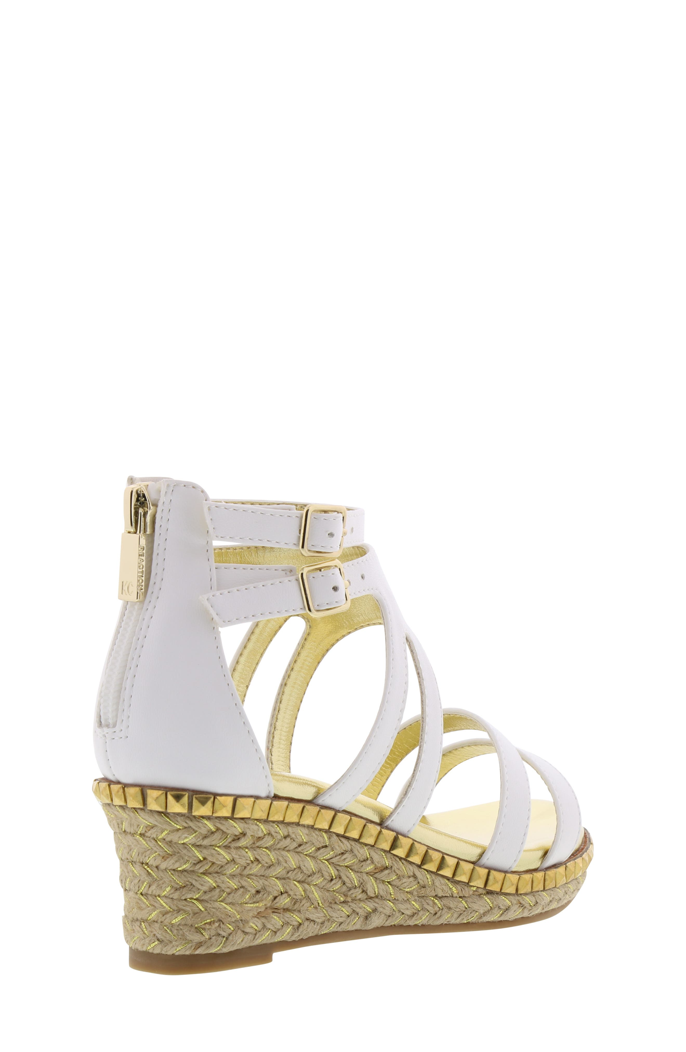 REACTION KENNETH COLE, Reed Splash Wedge Sandal, Alternate thumbnail 2, color, WHITE