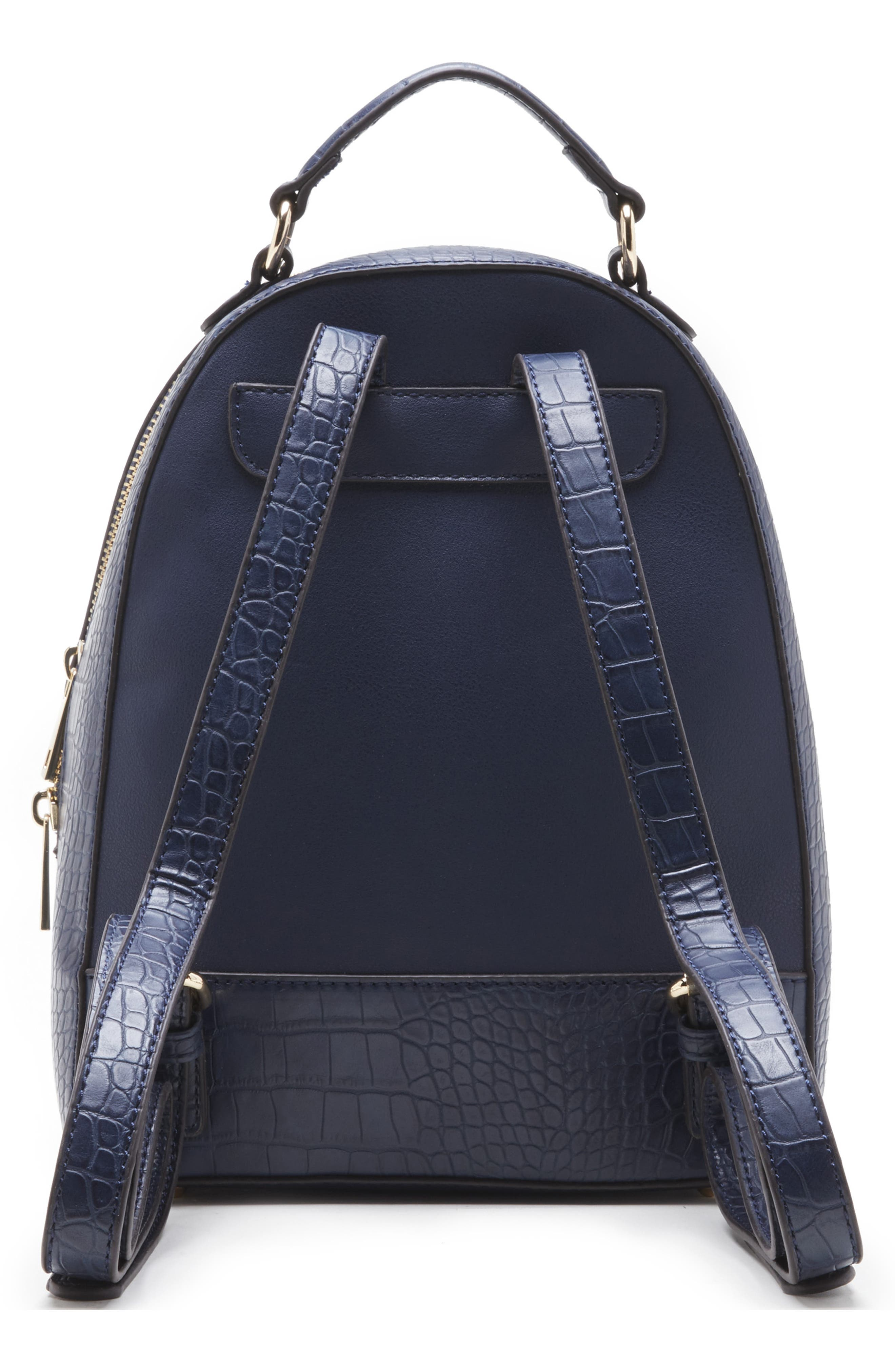 SOLE SOCIETY, Jamya Croc Embossed Faux Leather Backpack, Alternate thumbnail 2, color, MIDNIGHT