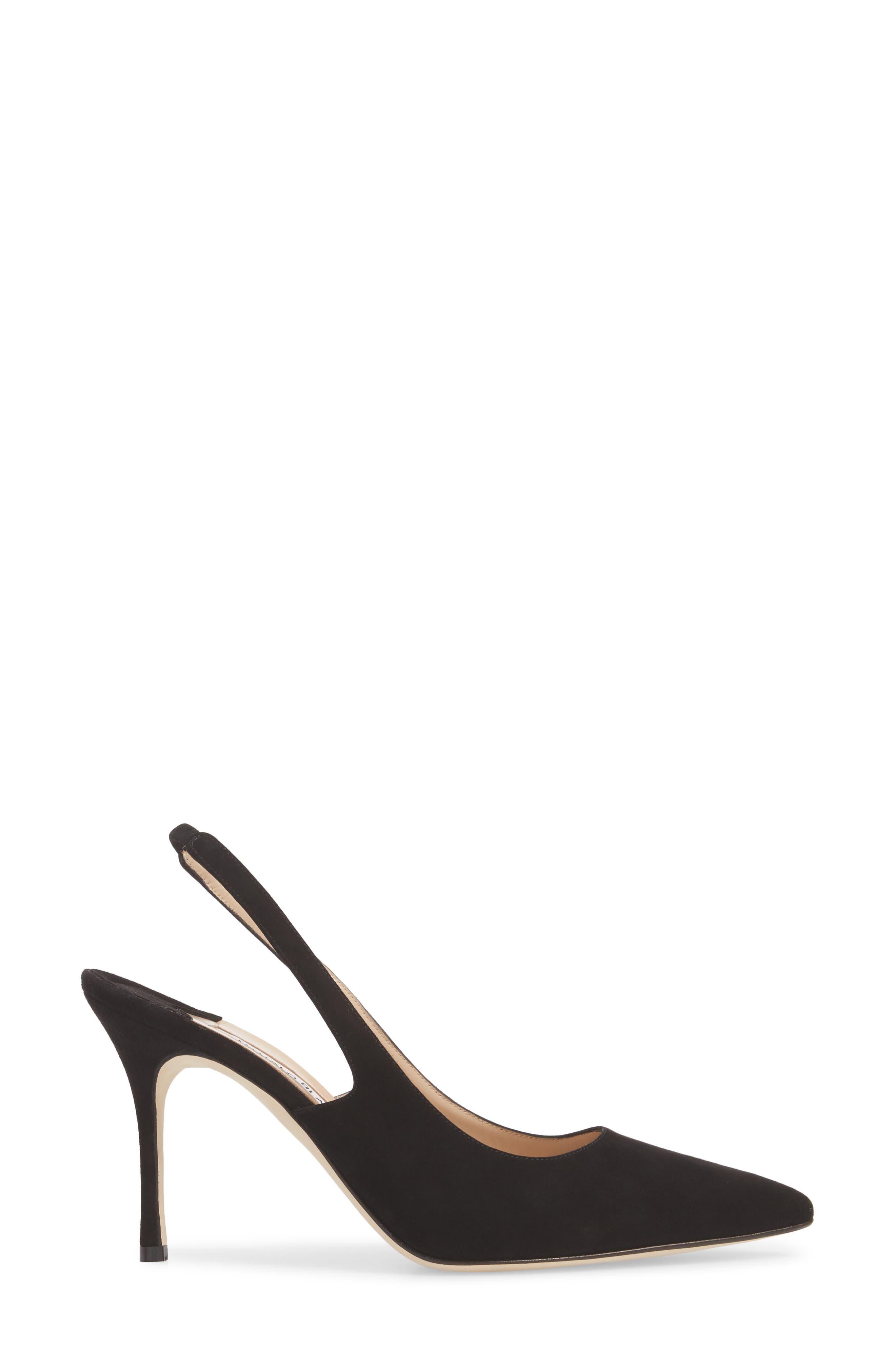 MANOLO BLAHNIK, Allura Slingback Pointy Toe Pump, Alternate thumbnail 3, color, BLACK SUEDE