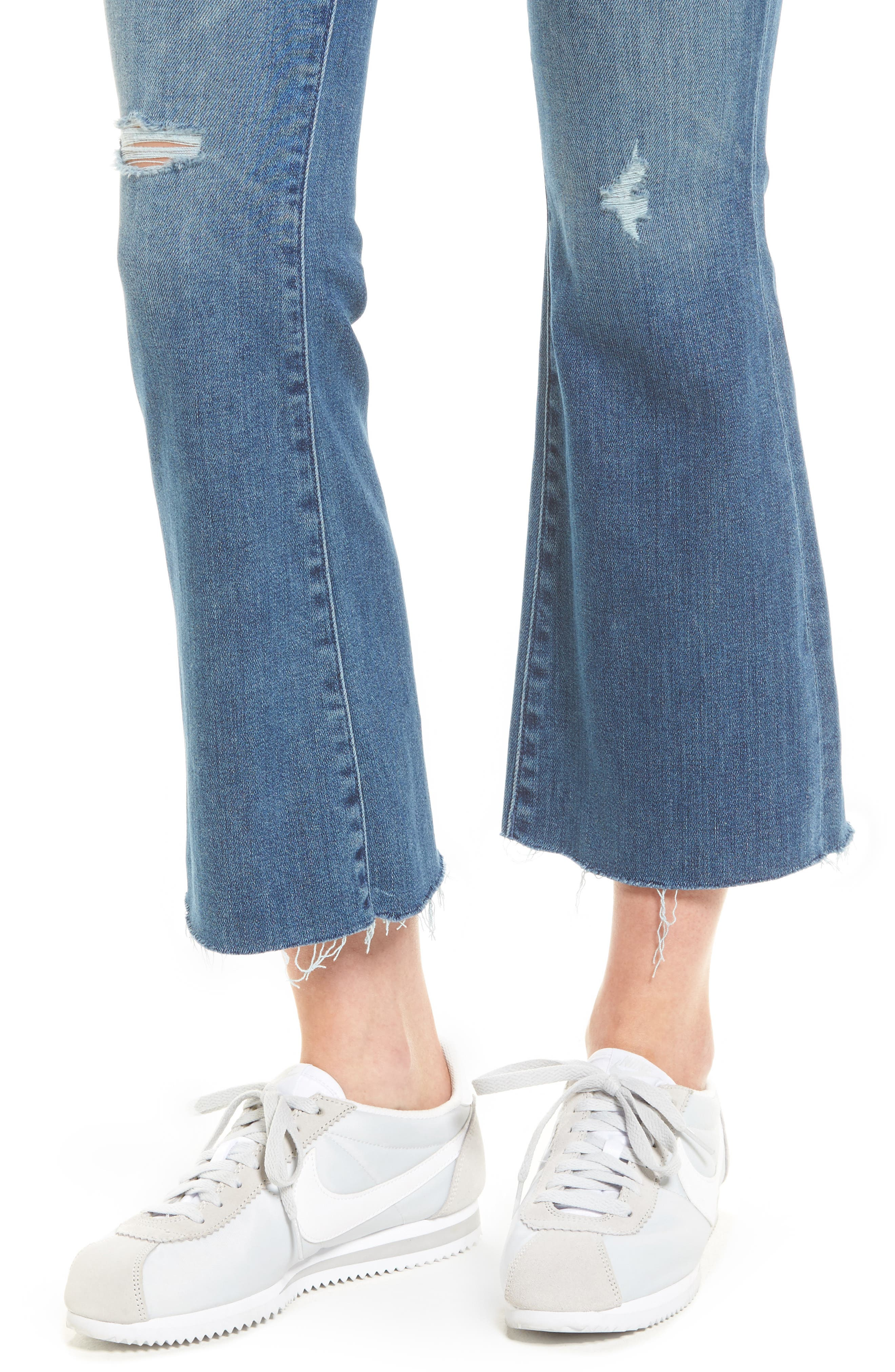 MOTHER, Frayed Ankle Jeans, Alternate thumbnail 5, color, 420