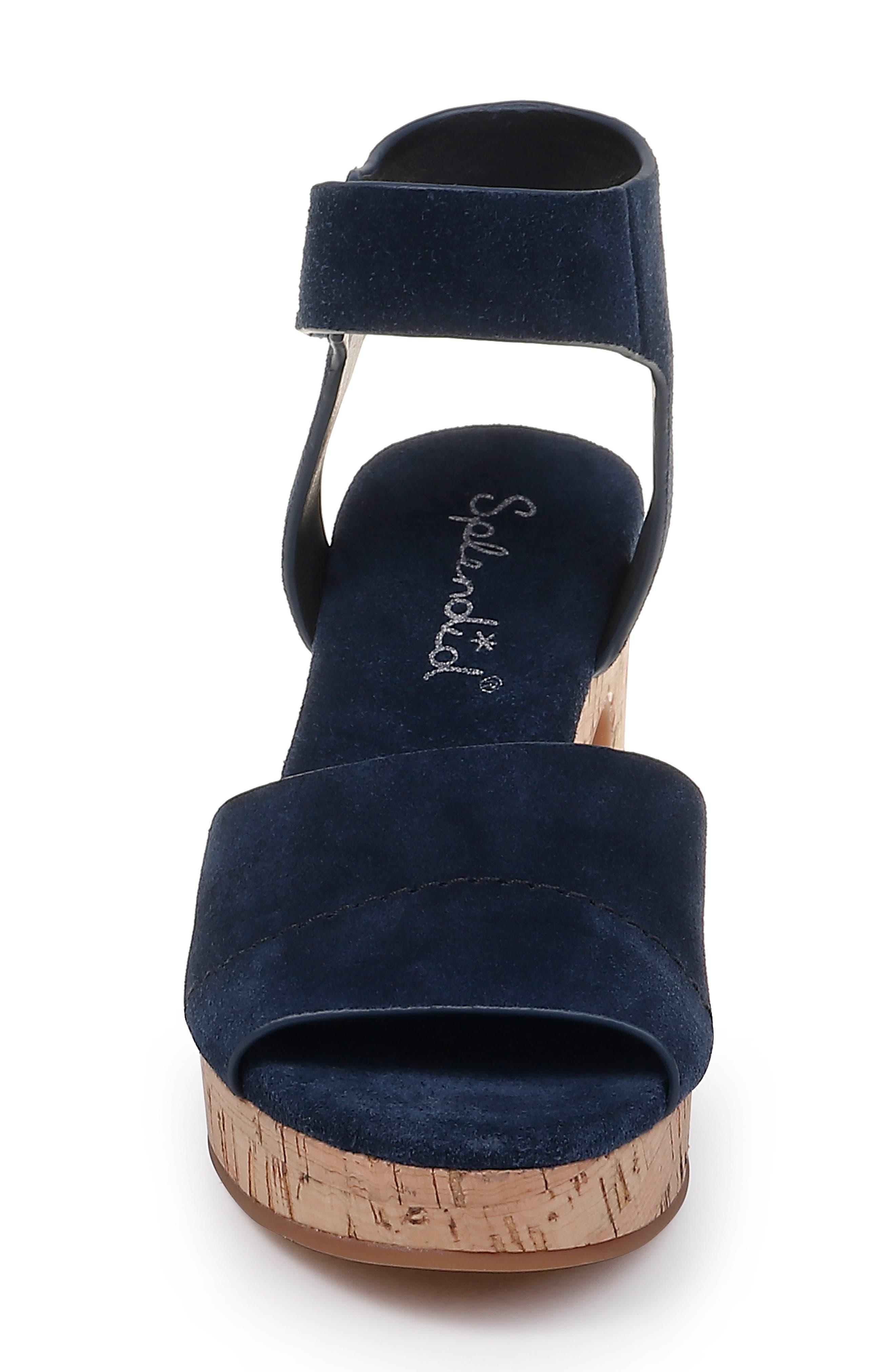 SPLENDID, Thatcher Platform Ankle Strap Sandal, Alternate thumbnail 4, color, NAVY SUEDE