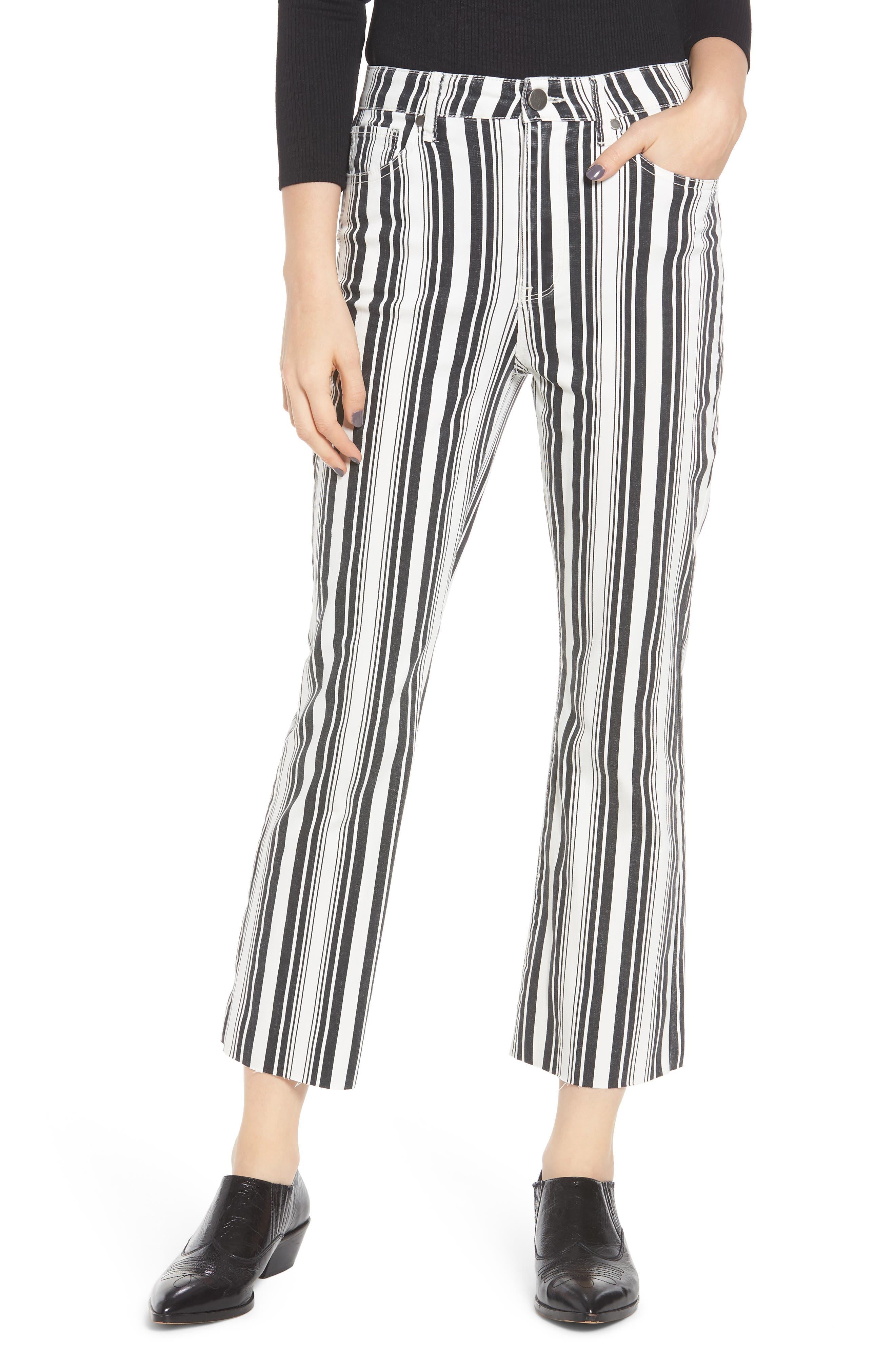 TINSEL, Stripe Crop Flare Jeans, Main thumbnail 1, color, WHITE BLACK