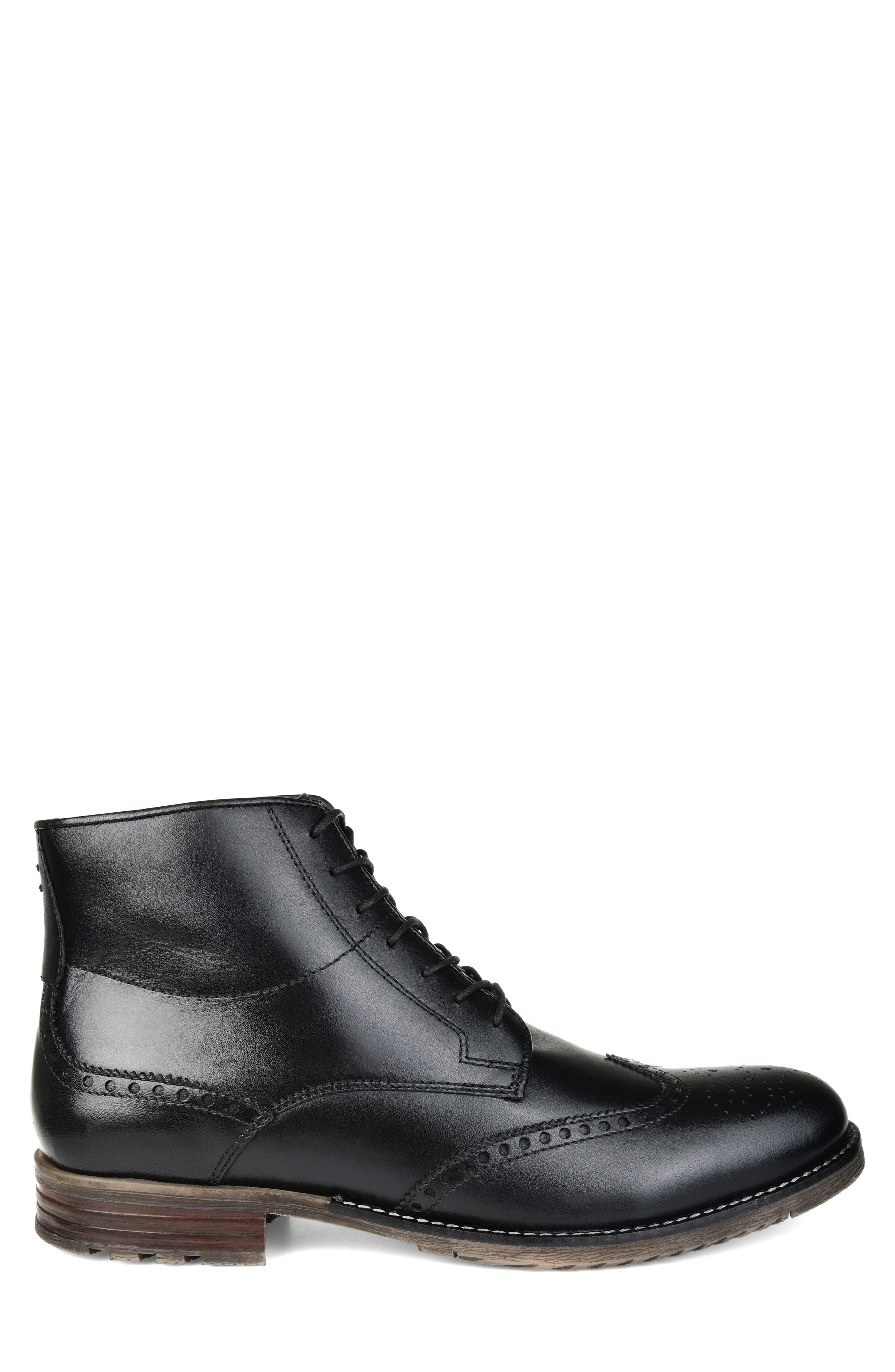 THOMAS AND VINE, Ryker Wingtip Boot, Alternate thumbnail 3, color, BLACK LEATHER
