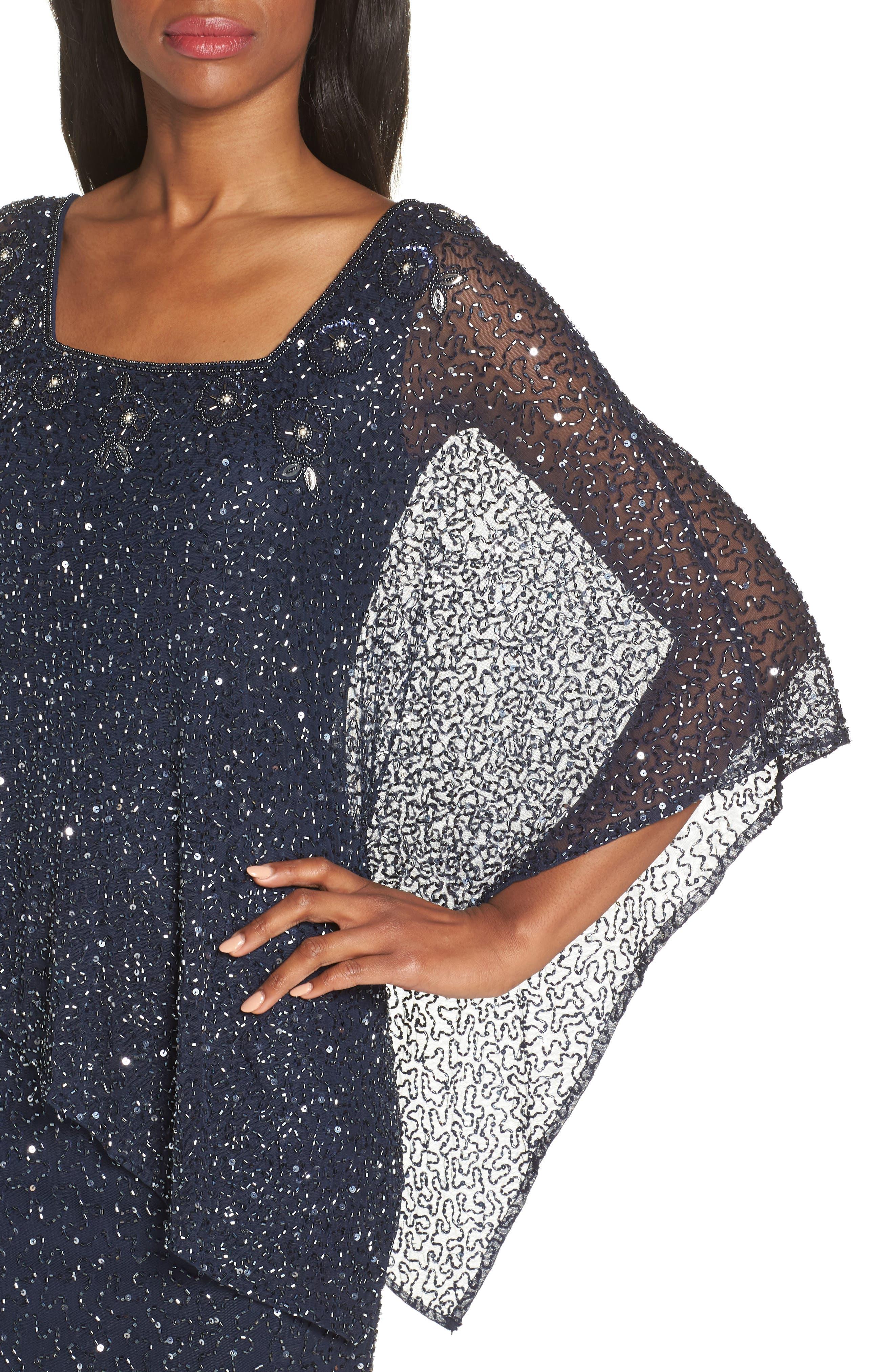 PISARRO NIGHTS, Beaded Cape Dress, Alternate thumbnail 5, color, NAVY
