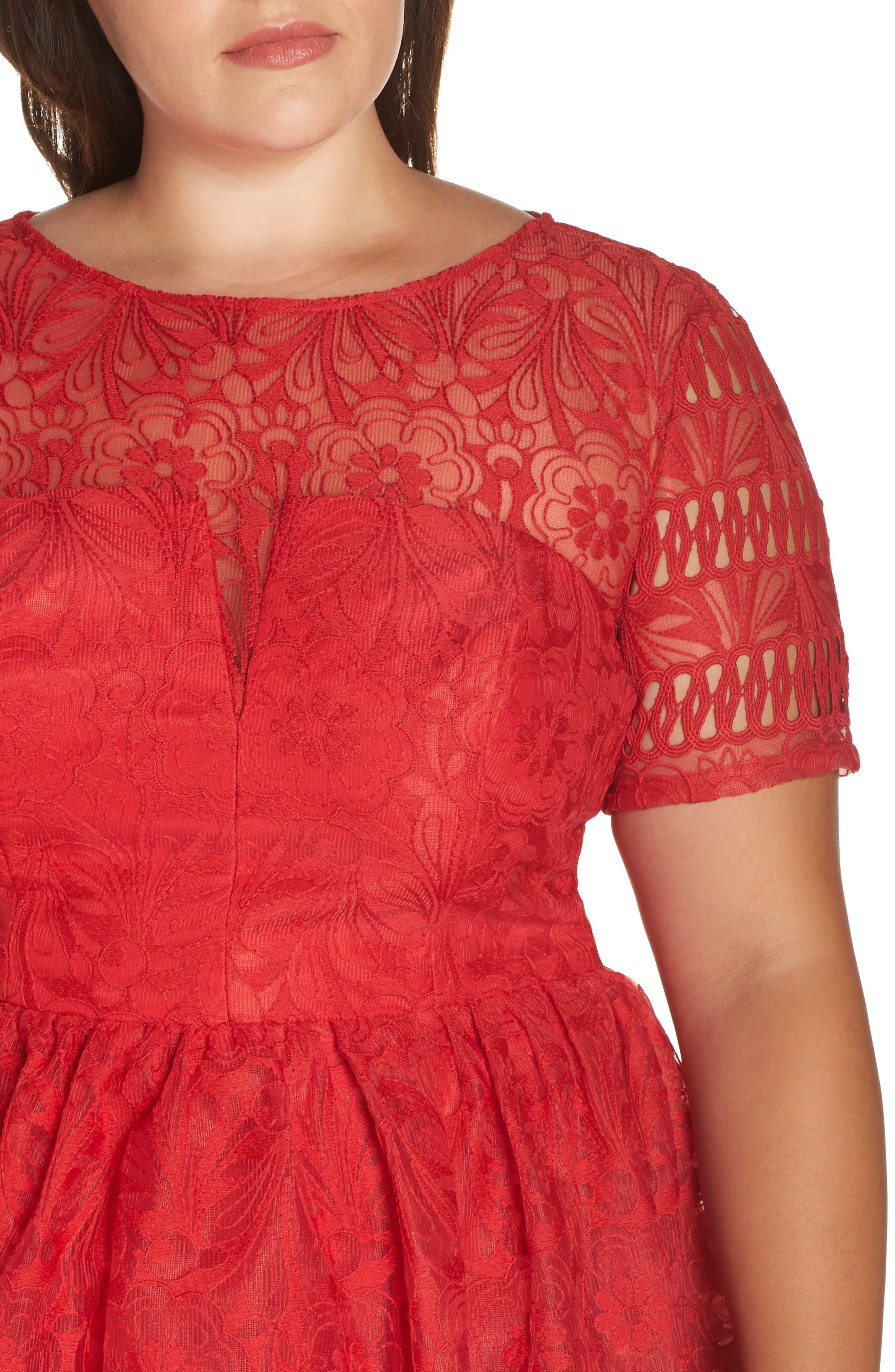 CHI CHI LONDON, Crochet Dress, Alternate thumbnail 5, color, RED