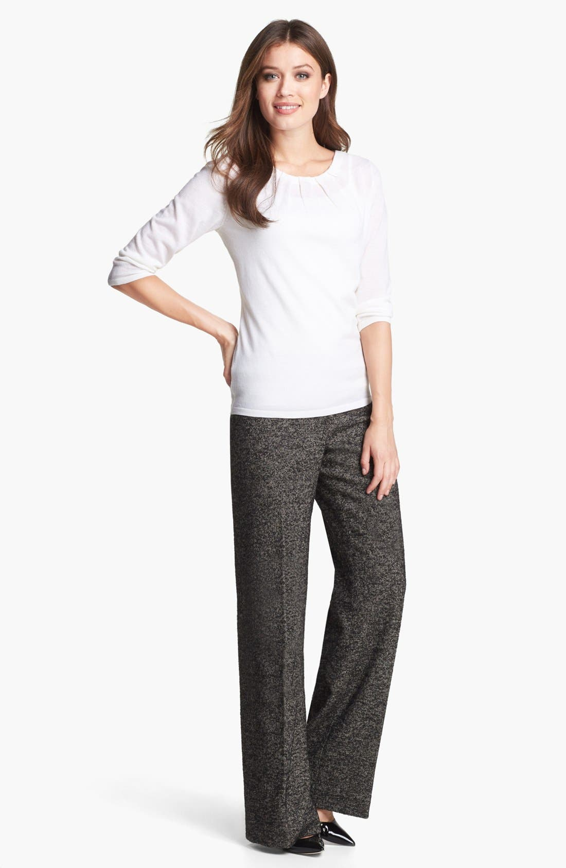 CLASSIQUES ENTIER<SUP>®</SUP>, 'Vedera Tweed' Trousers, Alternate thumbnail 2, color, 001
